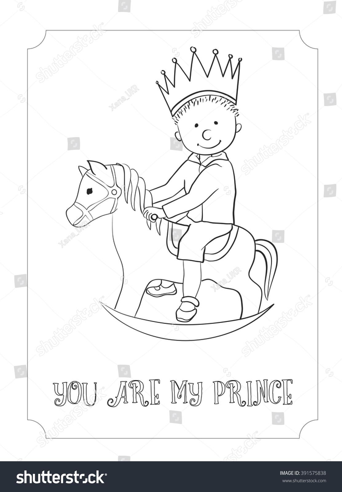 Kid Cartoon Cute Prince Outline Card Stock Vector 391575838