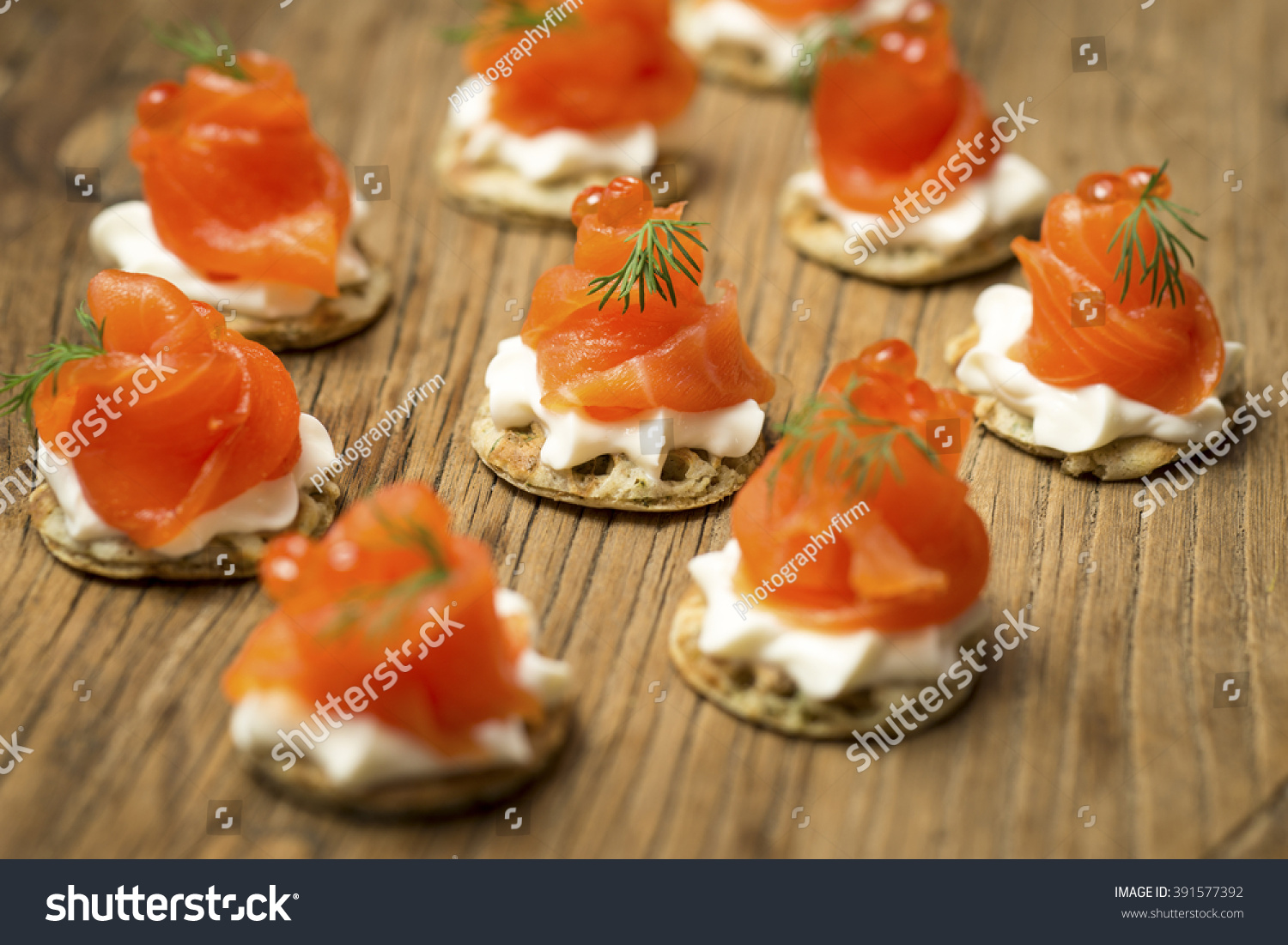 Smoked trout canapes dill horseradish cream stock photo for Smoked trout canape