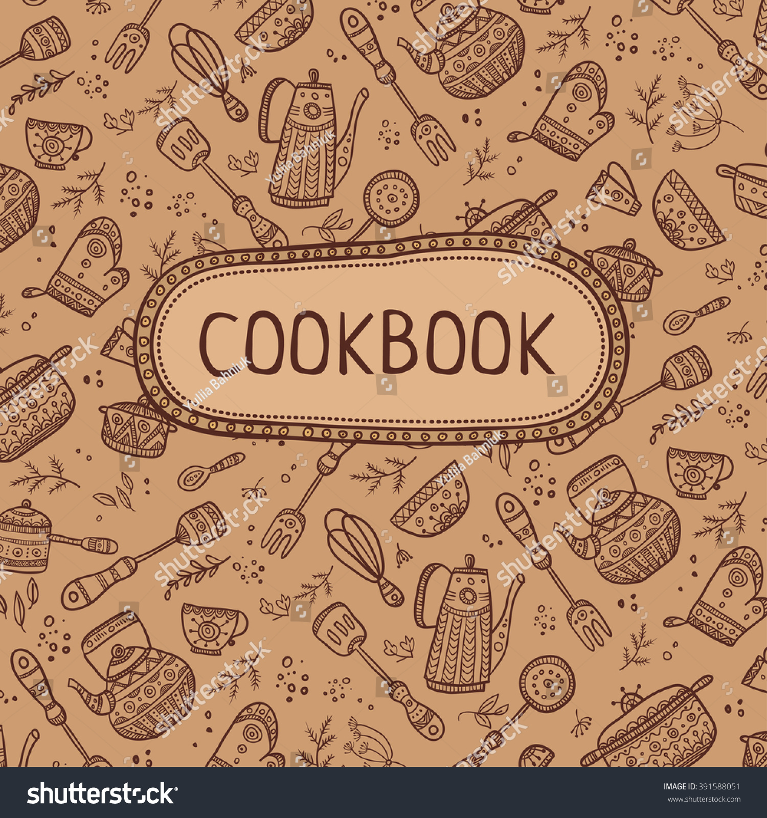 Cookbook Cover Design Kitchen Items Pattern Stock Vector 391588051 ...