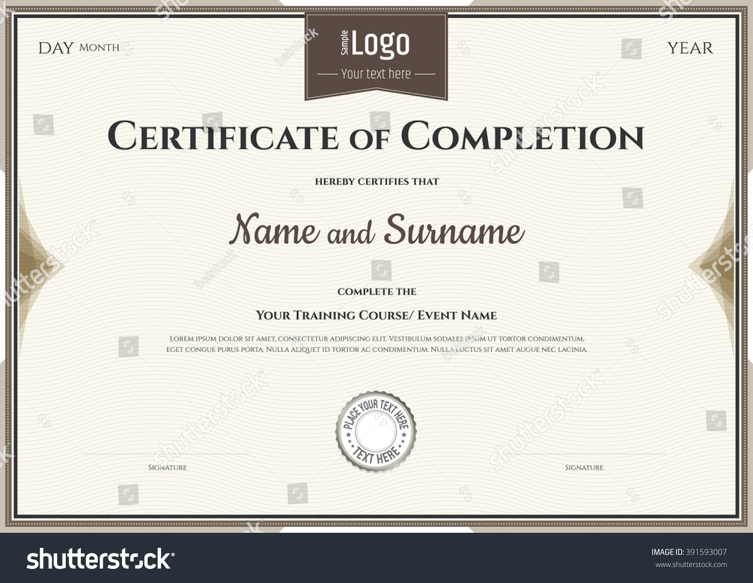 Certificate completion template vector achievement graduation certificate of completion template in vector for achievement graduation xflitez Image collections