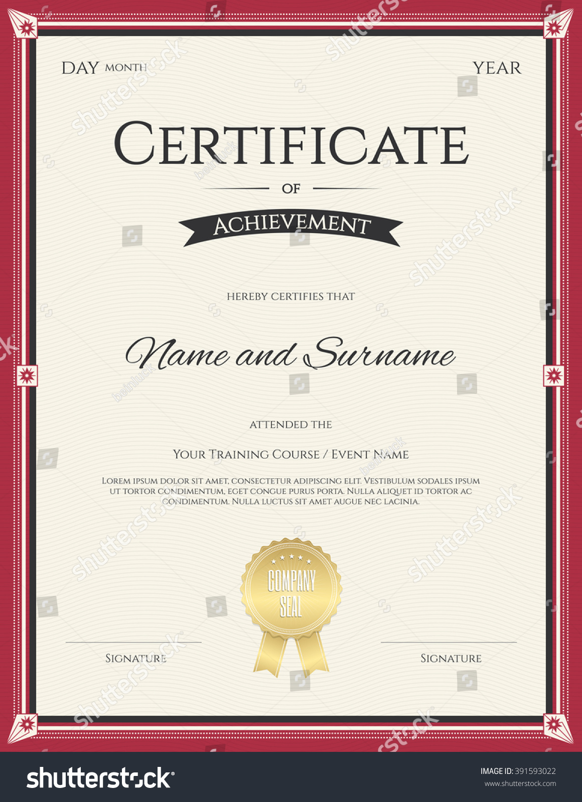 Portrait certificate achievement template vector graduation stock portrait certificate of achievement template in vector for graduation completion 1betcityfo Gallery