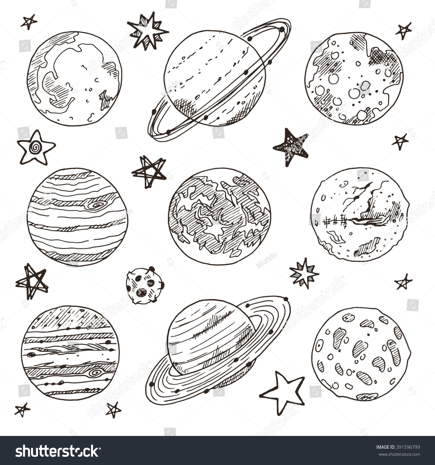 Set Doodle Planet Hand Drawn Vector Stock 391596799
