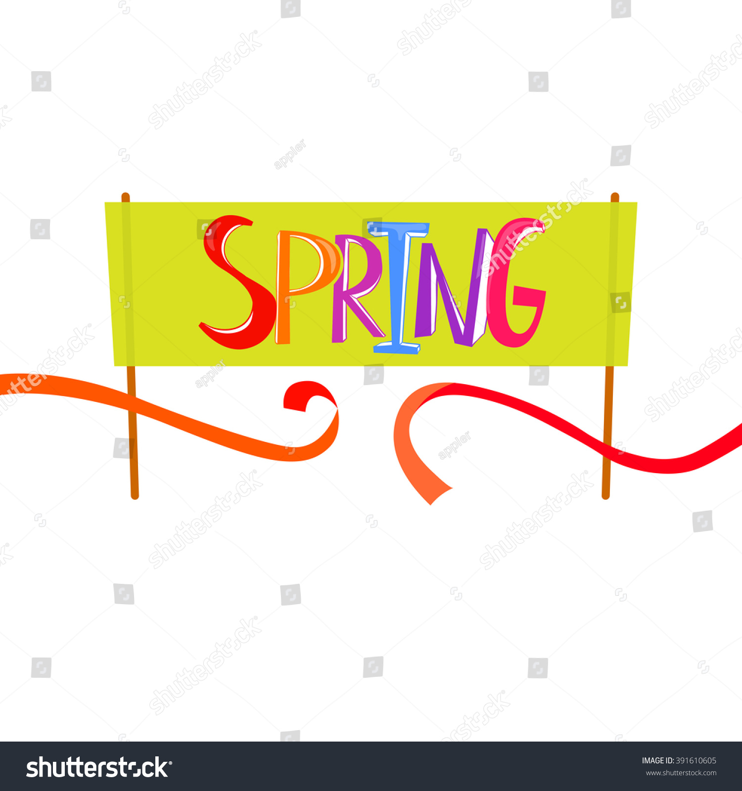 Spring Time Lettering Banner Background Spring Start And