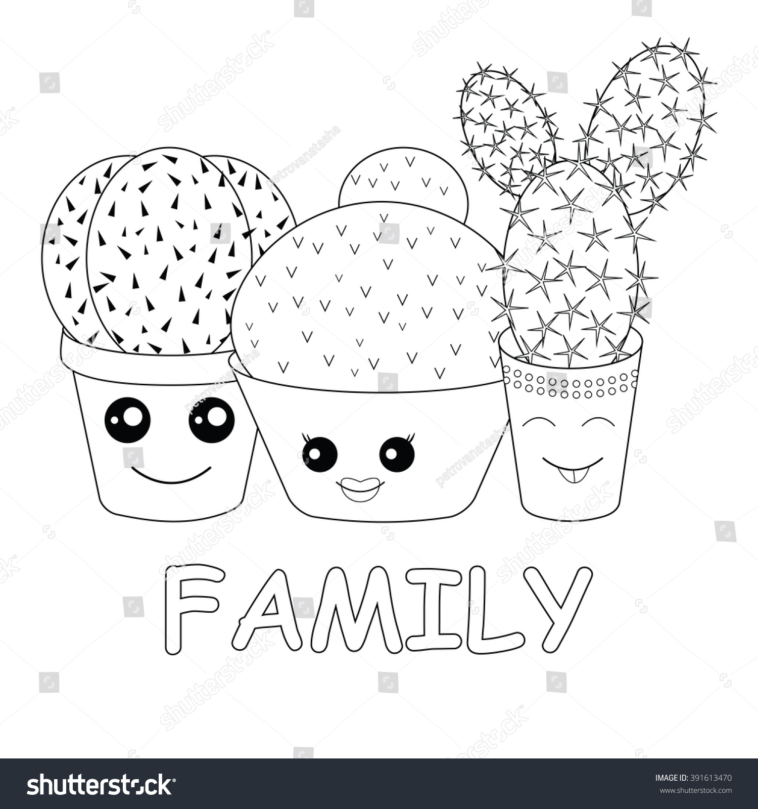 Coloring Cacticoloring Pagehilarious Family Cacti On Stock