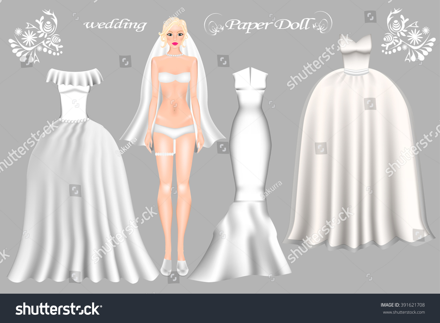 Dress Paper Doll Bride Paper Doll Stock Vector 391621708 - Shutterstock