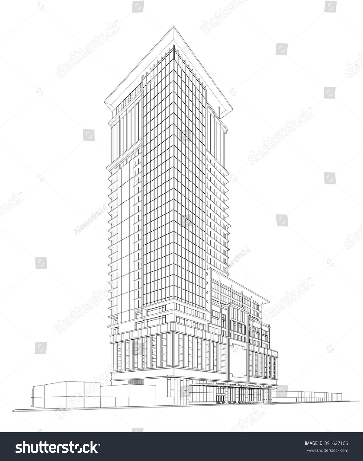 perspective 3 d render building wireframe のベクター画像素材
