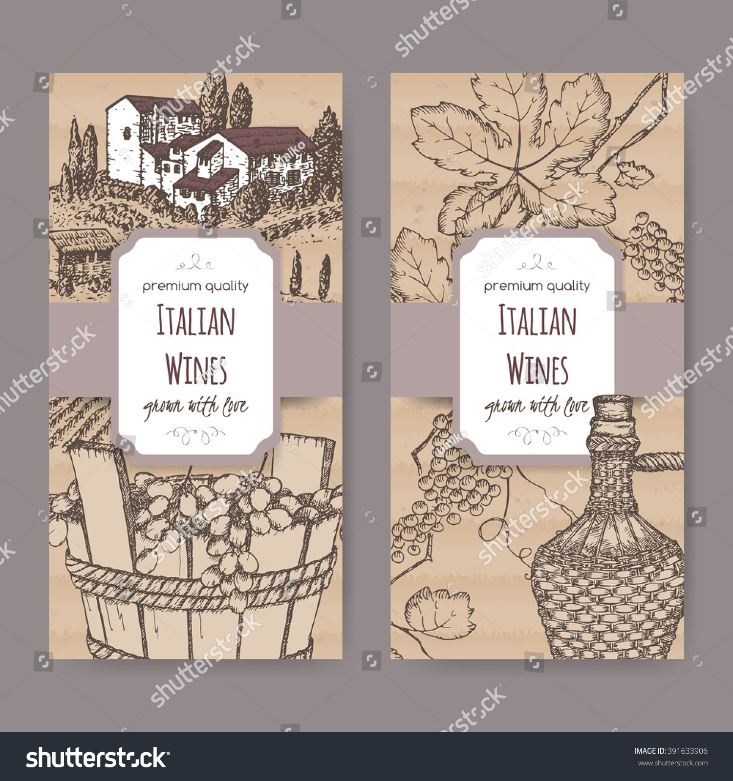 Set 2 Elegant Italian Wine Label Stock Vector 391633906 Shutterstock