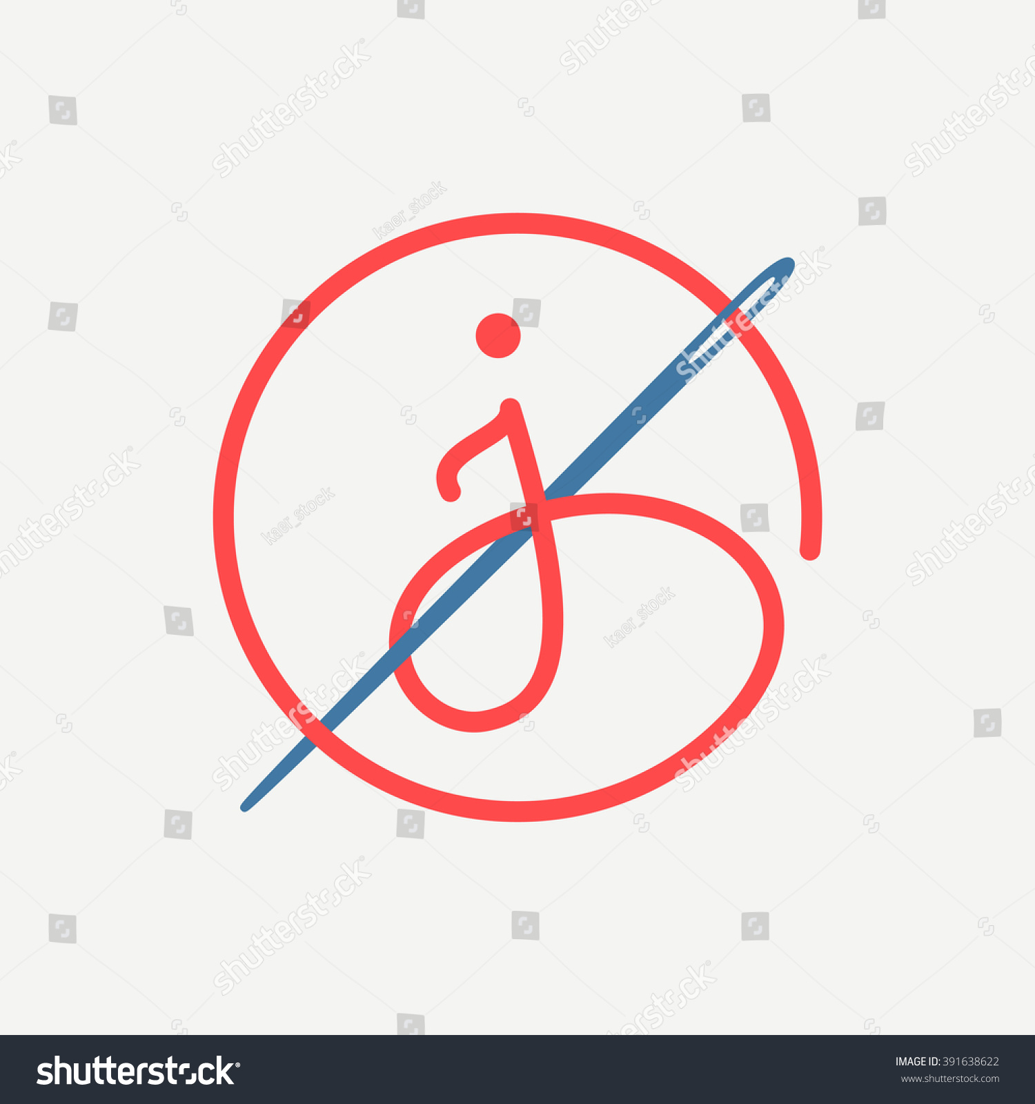 J Letter Logo Needle Thread Font Stock Vector