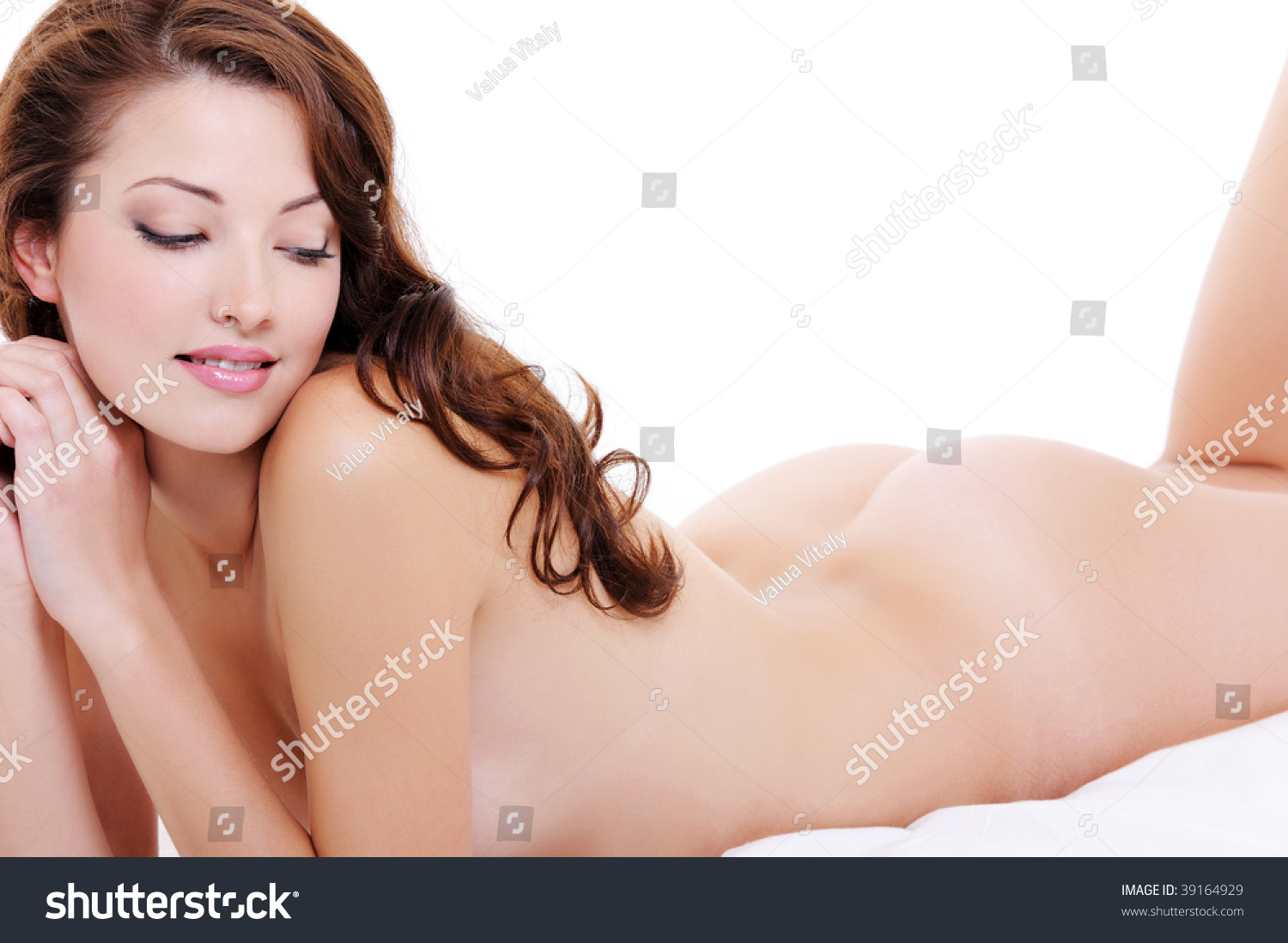 sexy young adult nude female flirting stock photo (royalty free