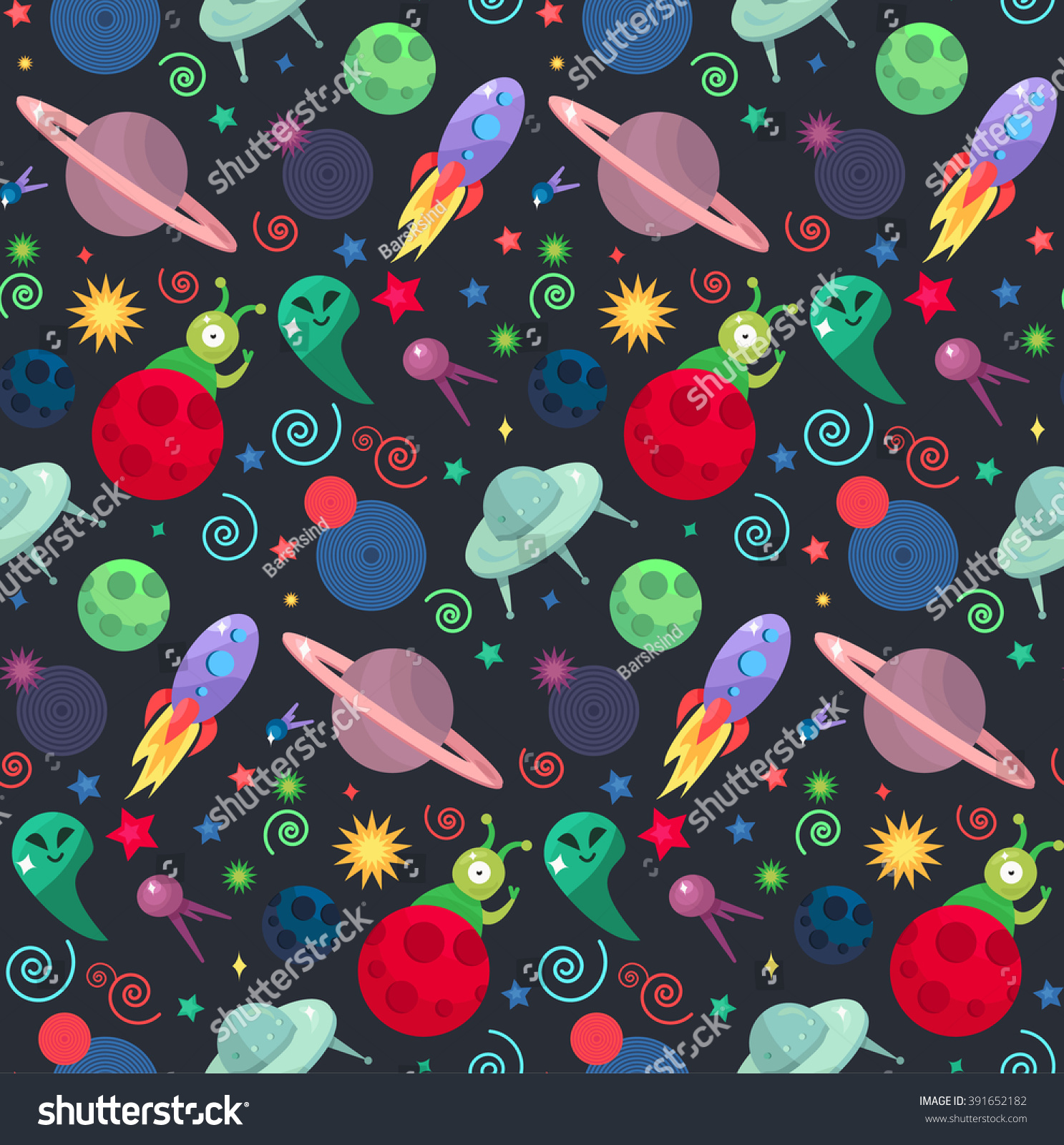 Cosmos and ufo concept in seamless pattern for wrap print for Planet print fabric