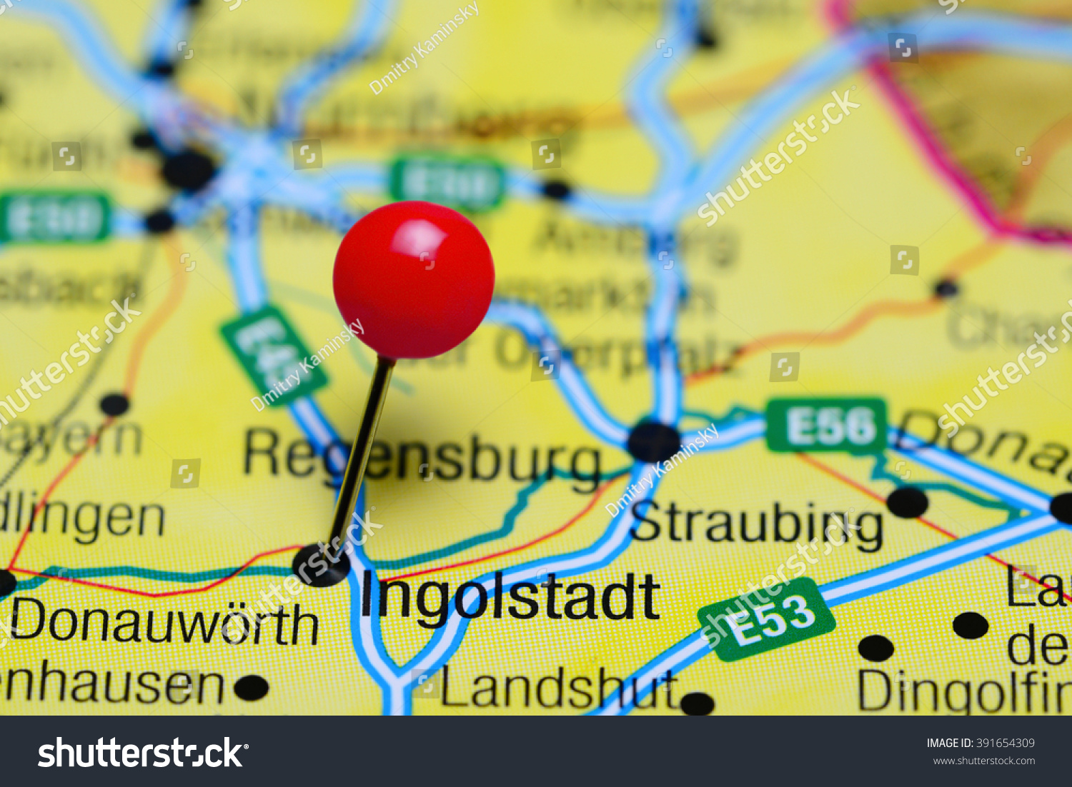 Ingolstadt Pinned On Map Germany Stock Photo 391654309 Shutterstock