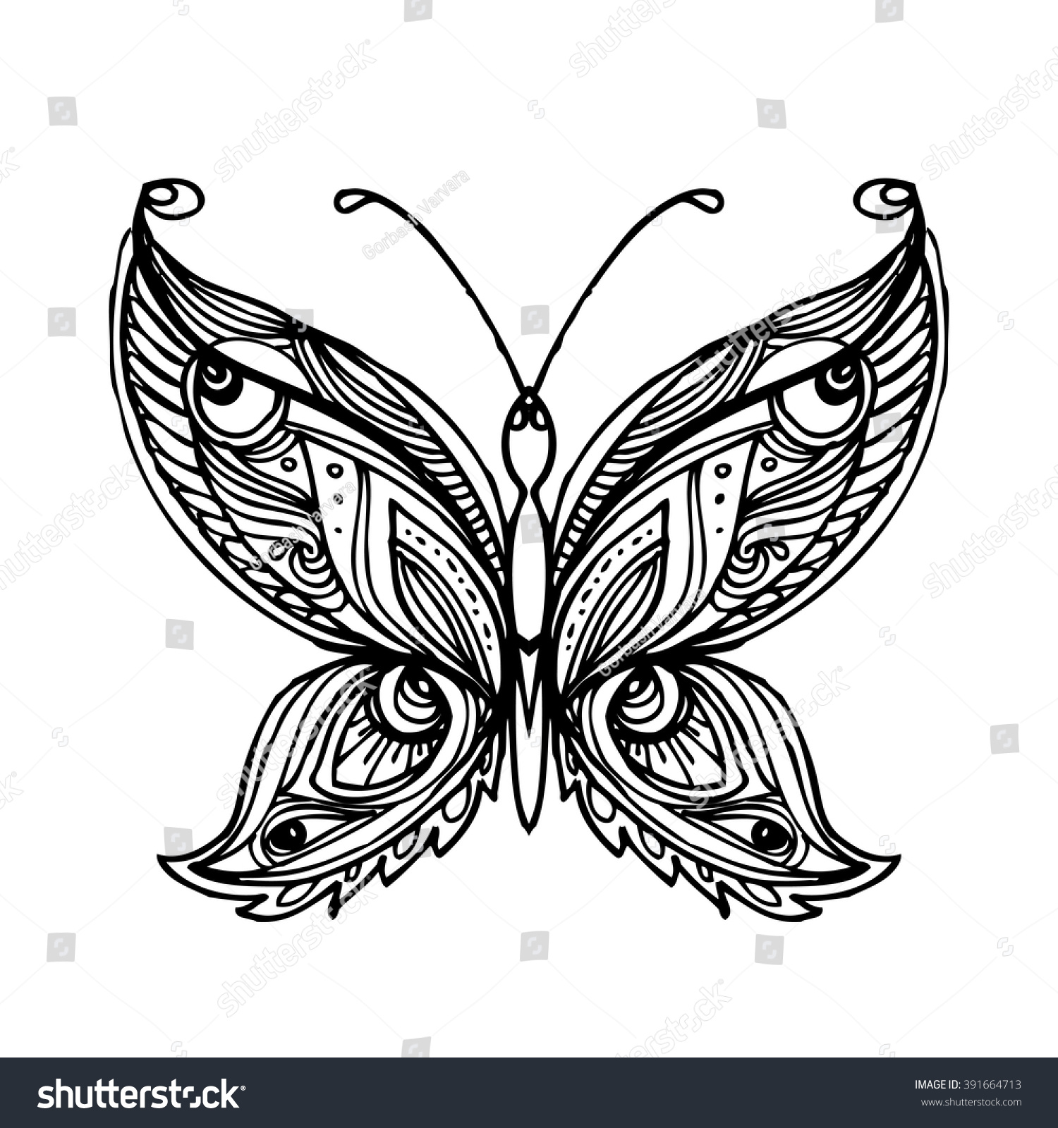 Decorative Butterfly Coloring Book For Adult And Older Children Page Outline Drawing Vector Illustration
