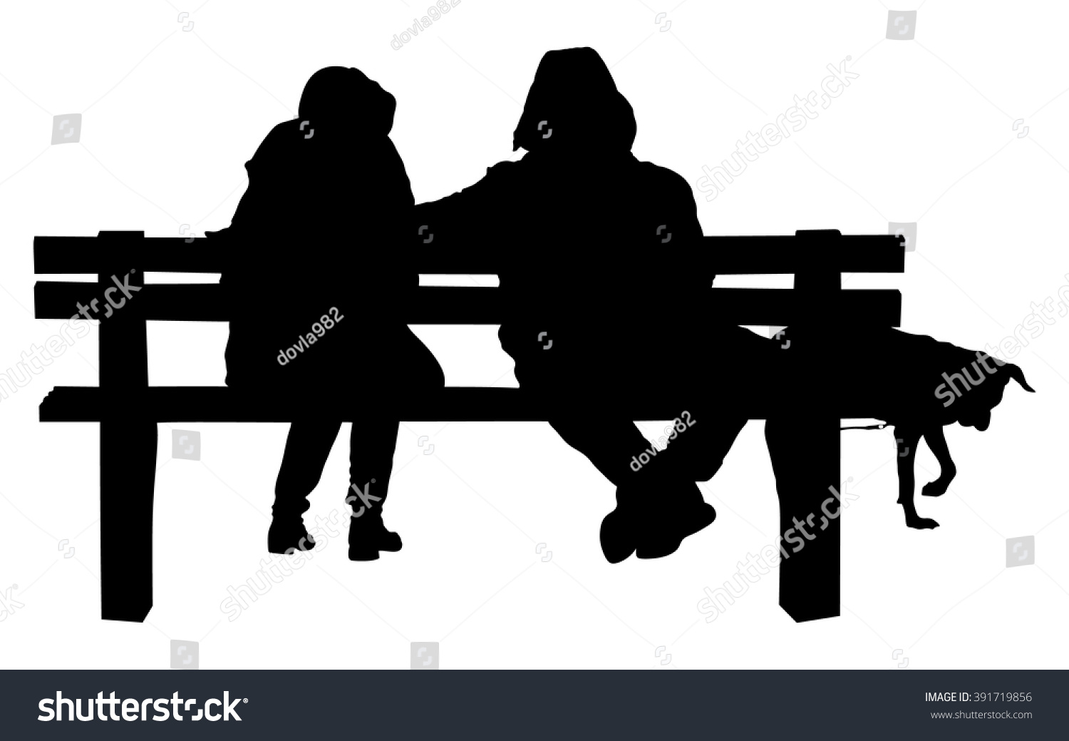 Couple On Bench Dog Two Lovers Stock Vector 391719856 - Shutterstock for People On Bench Silhouette  131fsj