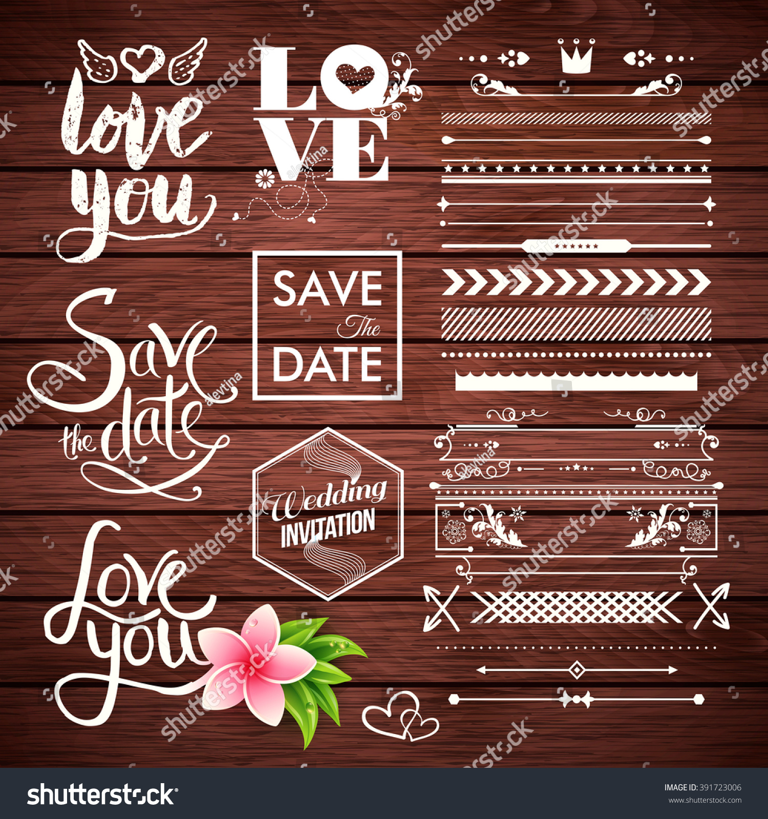 Vector Borders Lines Arrows Save Date Stock Vector 391723006 ...