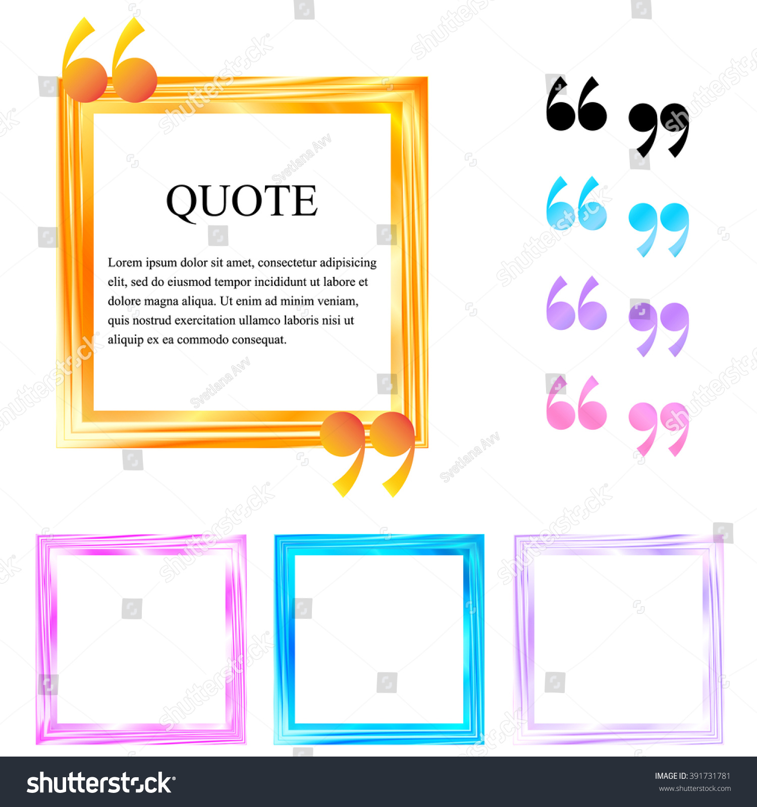 Quote Boxes Abstract Square Colored Frames Stock Vector 391731781 ...