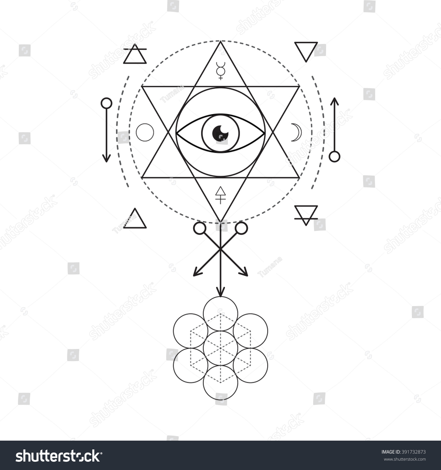 Royalty free symbol of alchemy and sacred geometry 391732873 symbol of alchemy and sacred geometry linear character illustration for lines tattoo on the white biocorpaavc