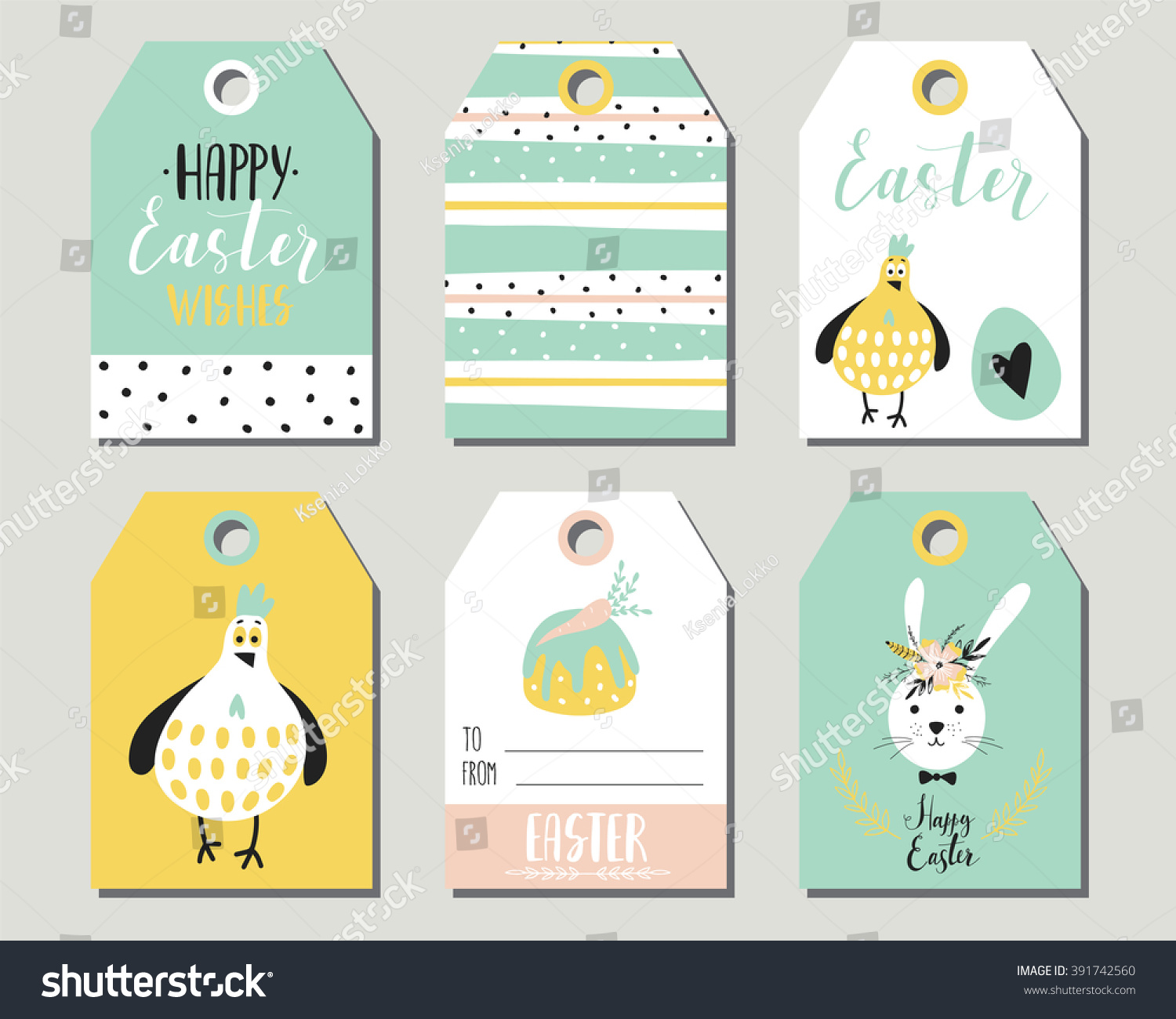 Easter gift tags cute easter bunny stock vector hd royalty free easter gift tags with cute easter bunny eggs flowers and easter greetings set negle Image collections