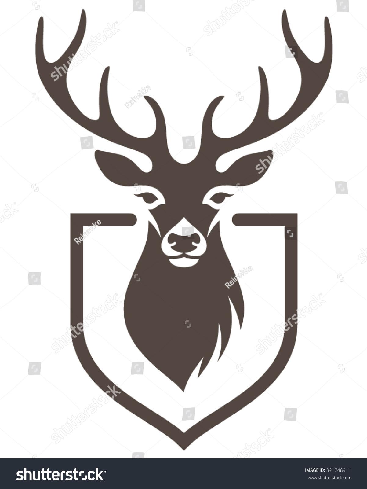 Stylized Head Deer On Shield Symbol Stock Vector 391748911 ...
