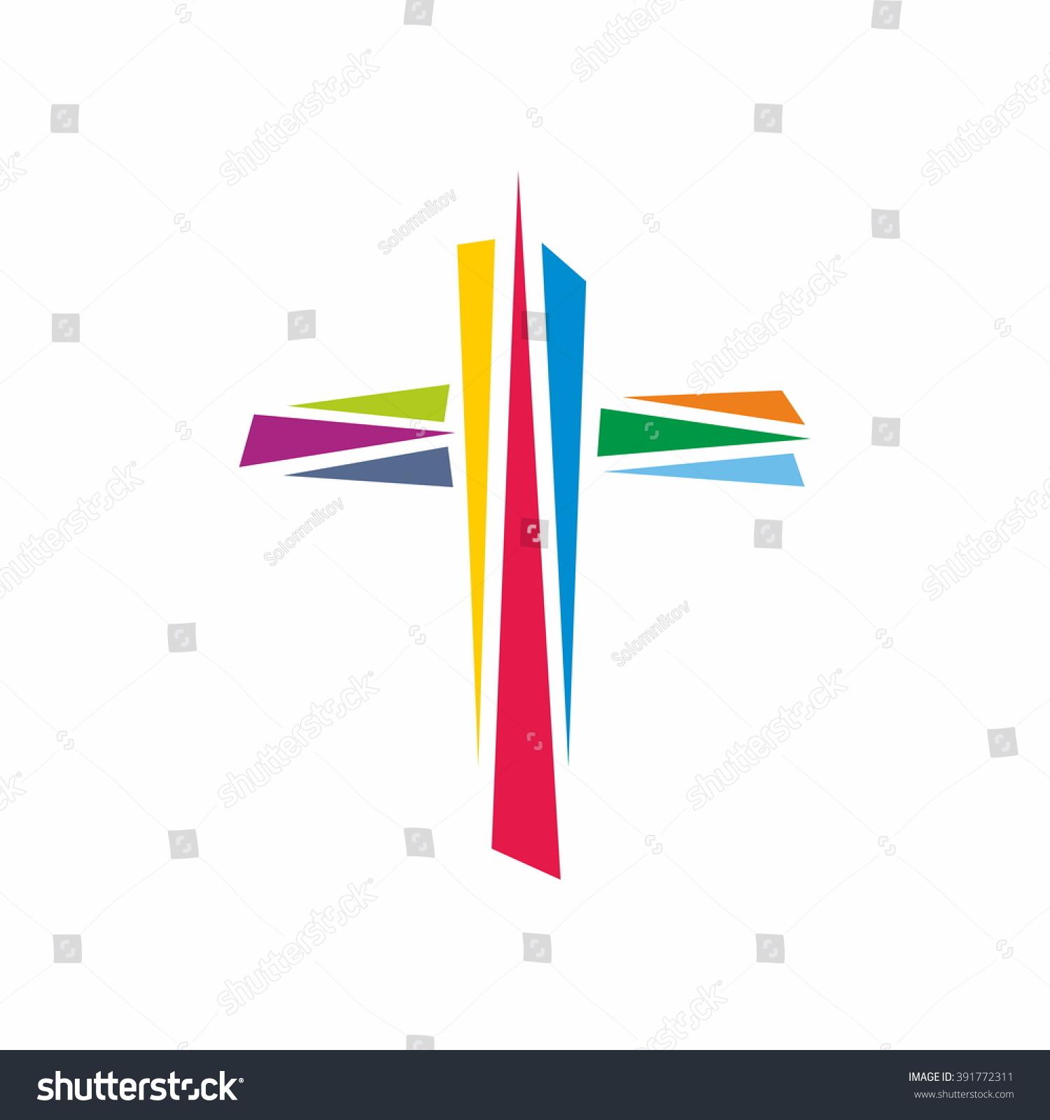Logo church colorful cross jesus christ stock vector 391772311 colorful cross of jesus christ gods symbol of diversity buycottarizona Image collections