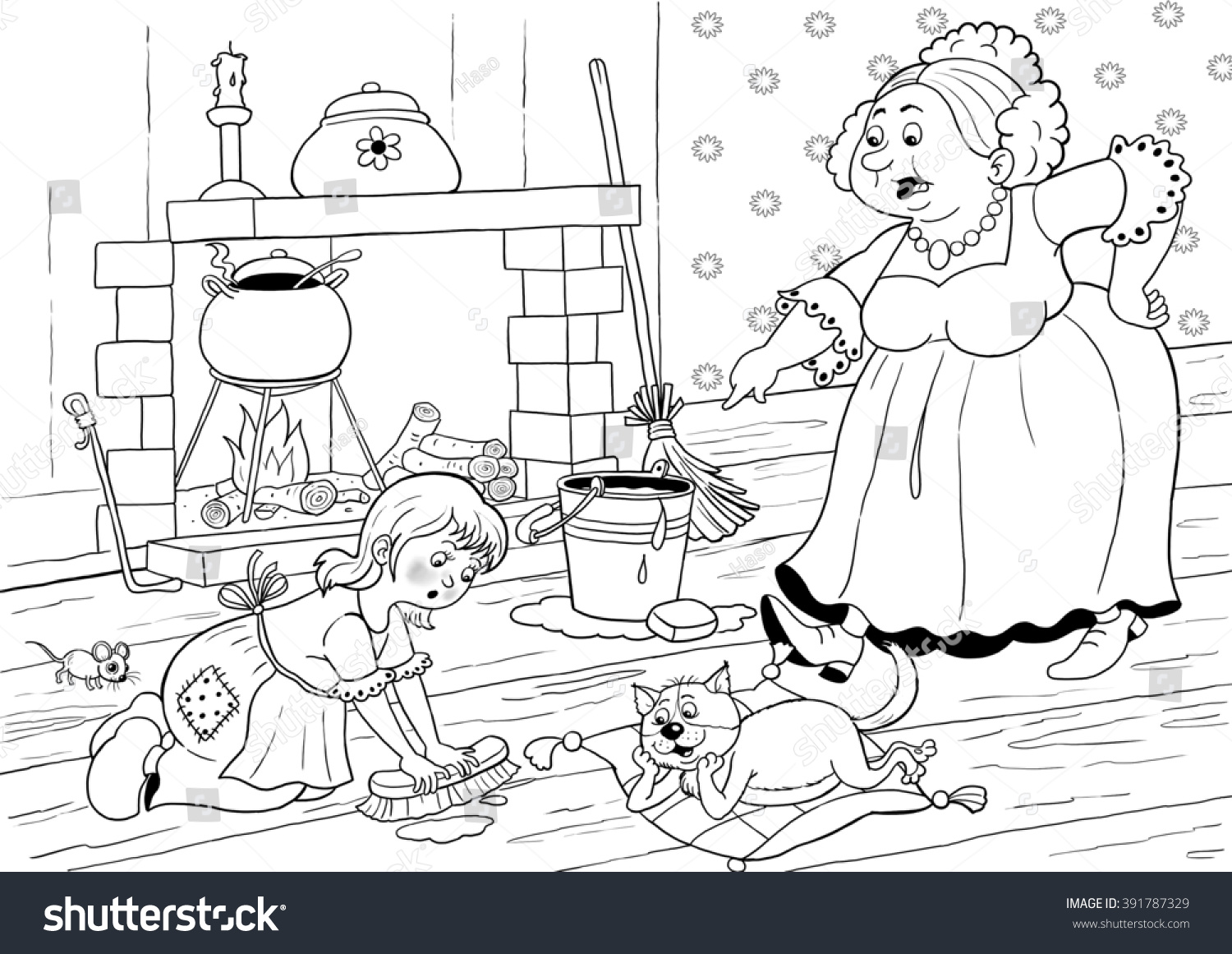Fairy Tale Cinderella A Cute Little Girl And Her Angry Stepmother Illustration For
