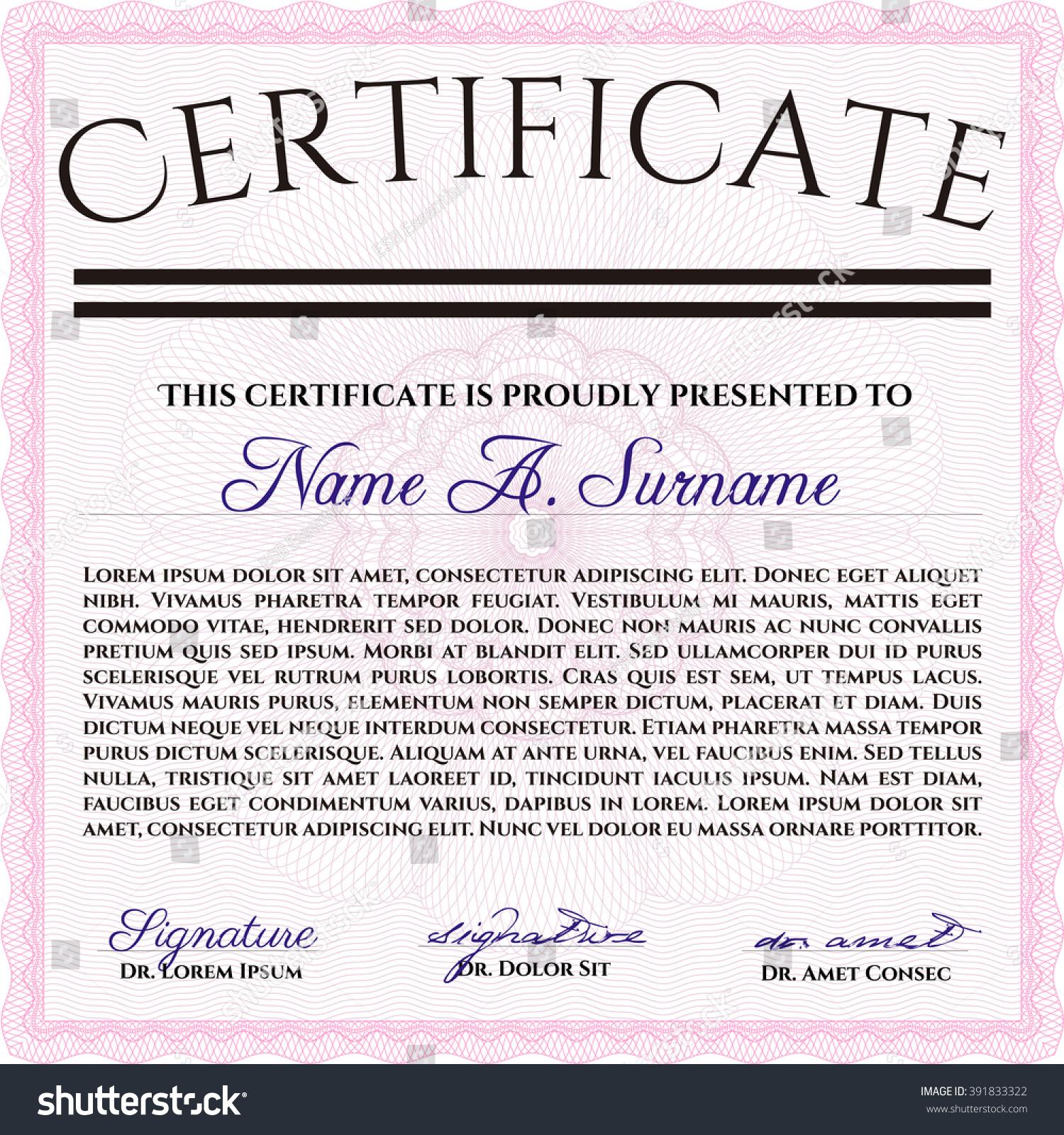 Classic Certificate Template Money Pattern Design Stock Vector