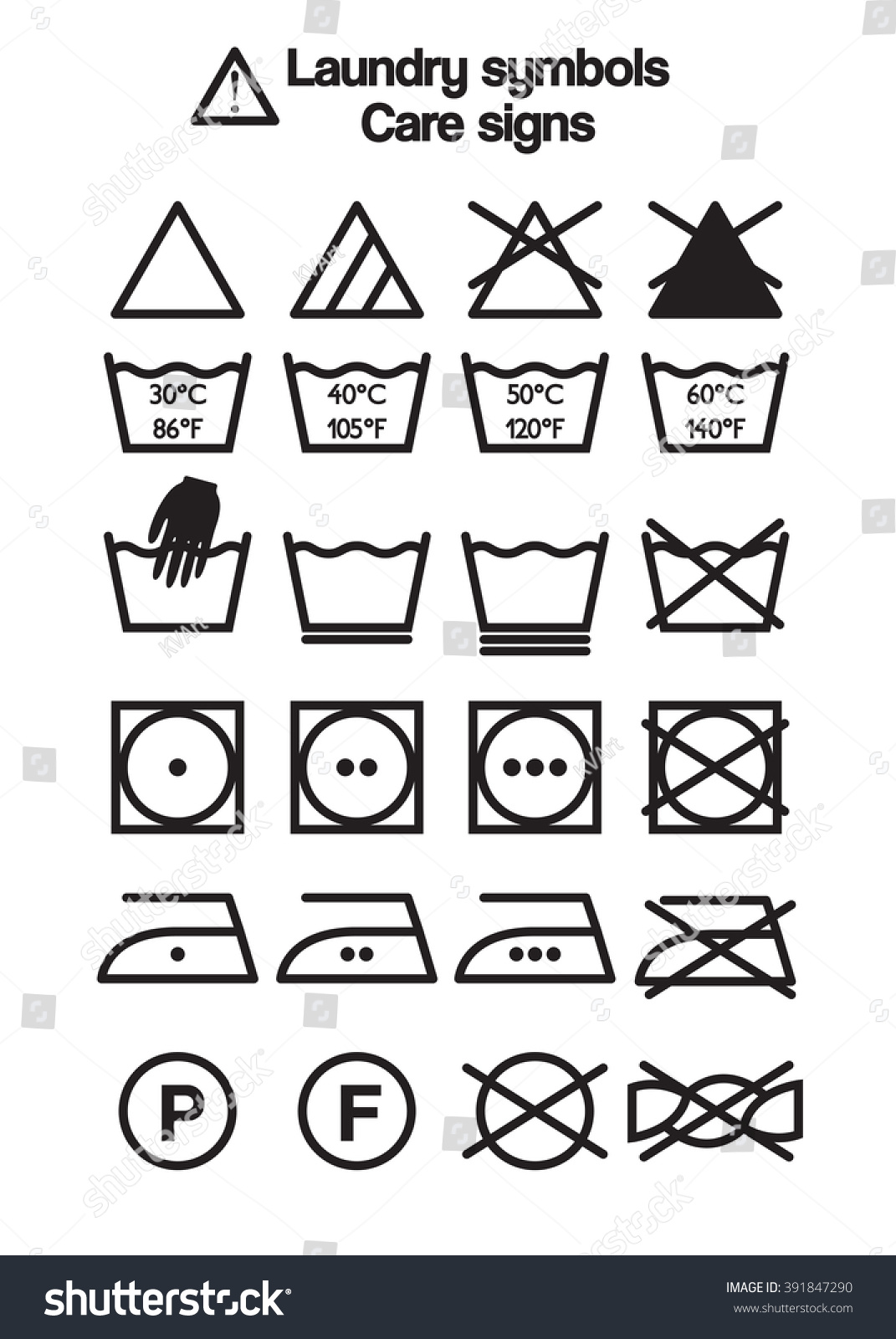 Set Laundry Symbols Care Signs Labels Stock Vector Royalty Free