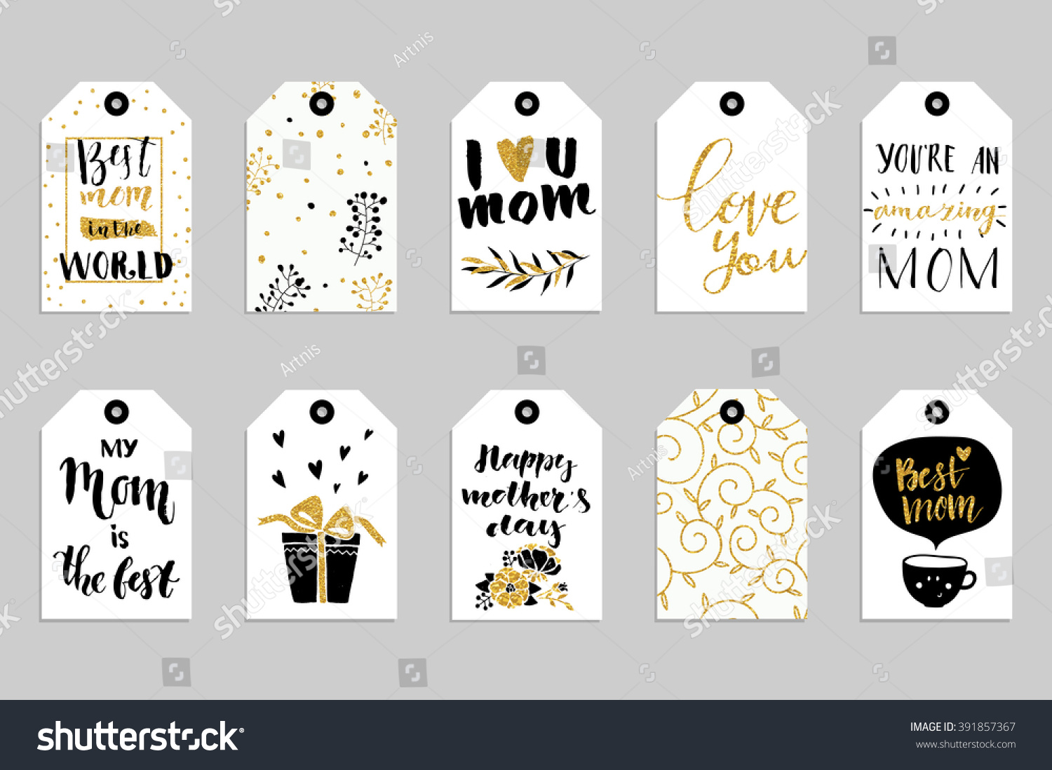 collection of ten gold texture happy mother 39 s day cute ready to use gift tags set of 10. Black Bedroom Furniture Sets. Home Design Ideas