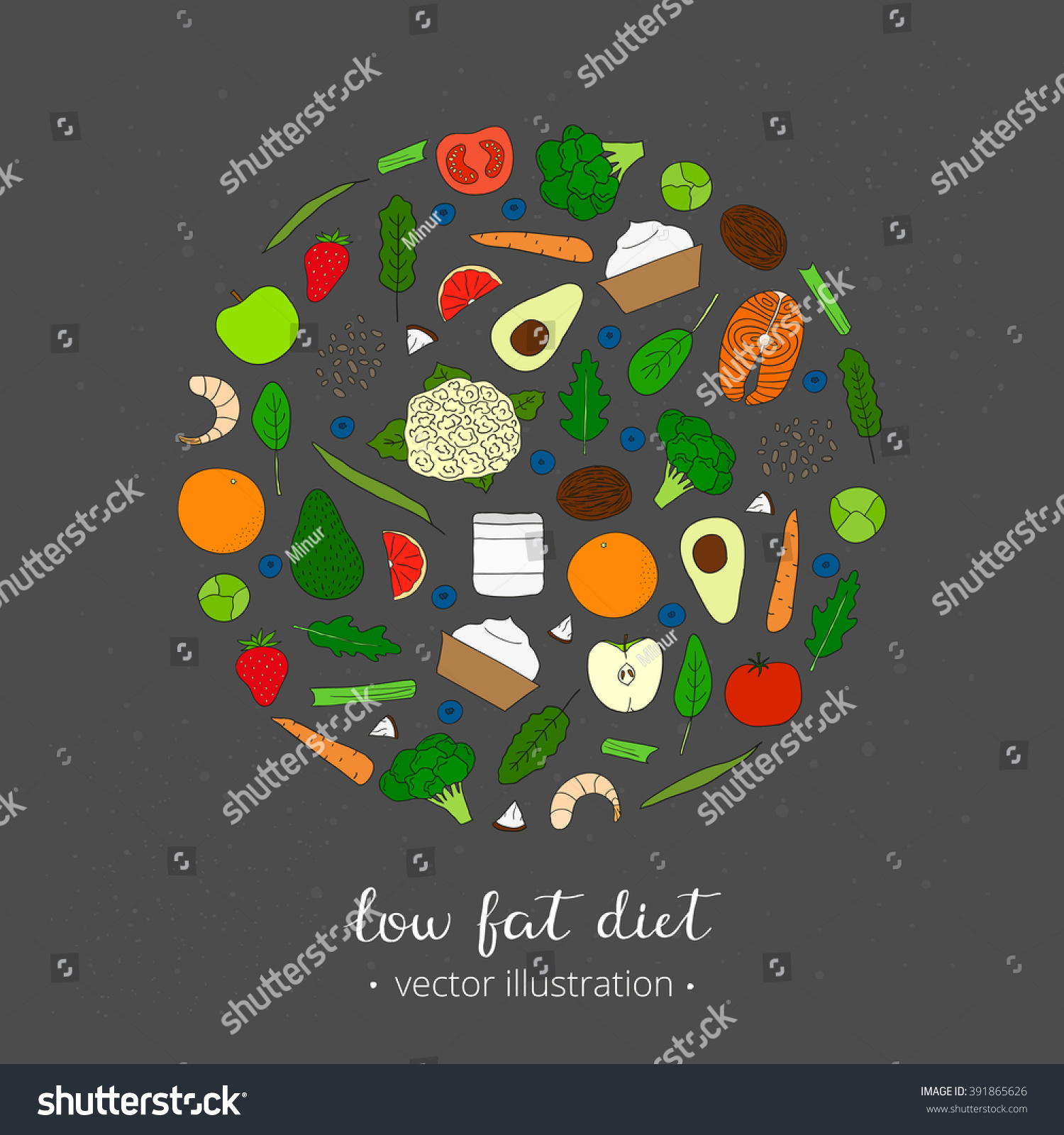 Foods For Weight Loss Low Fat Diet Concept Hand Drawn Products In Circle