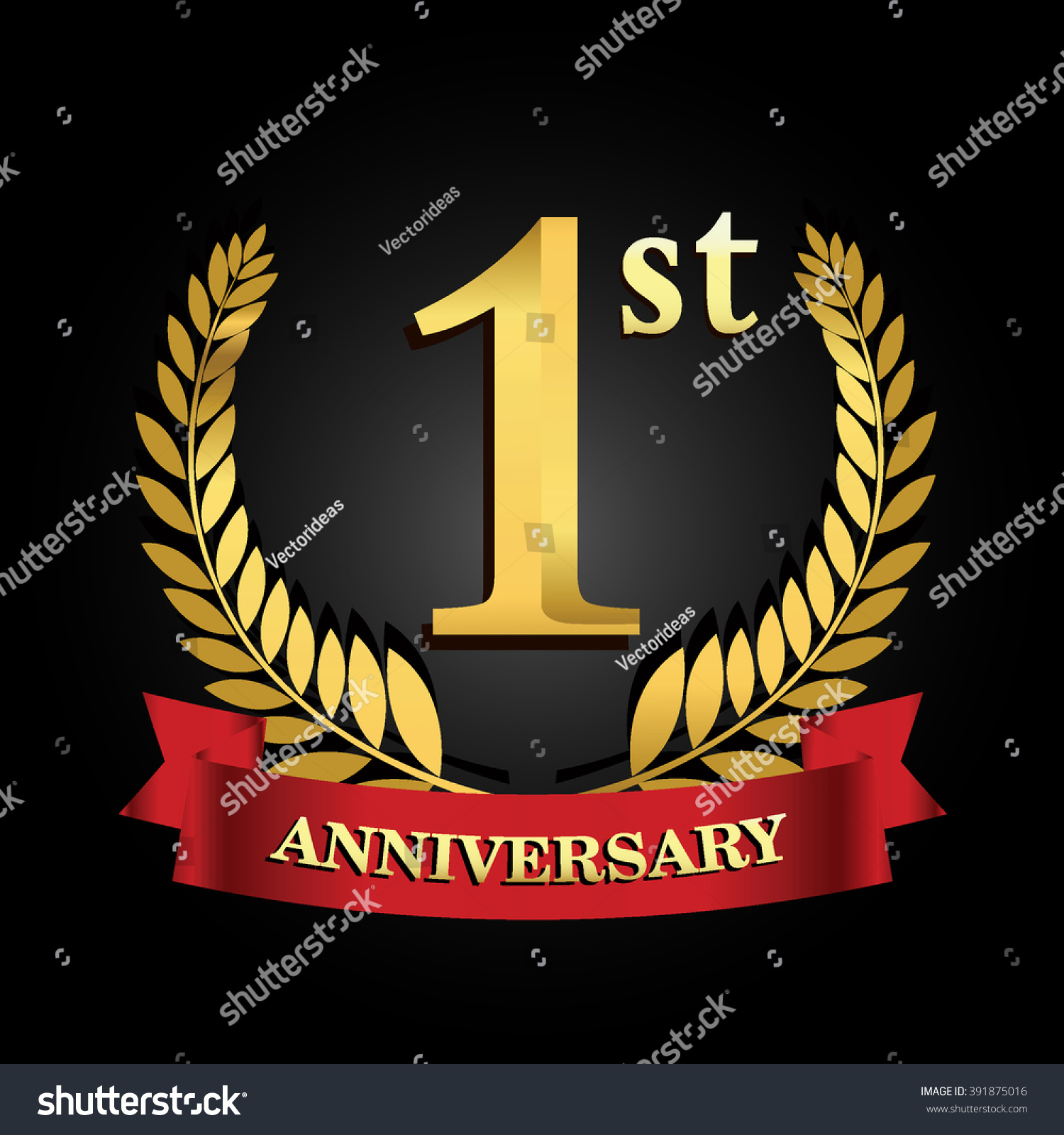 St anniversary logo red ribbon golden stock vector