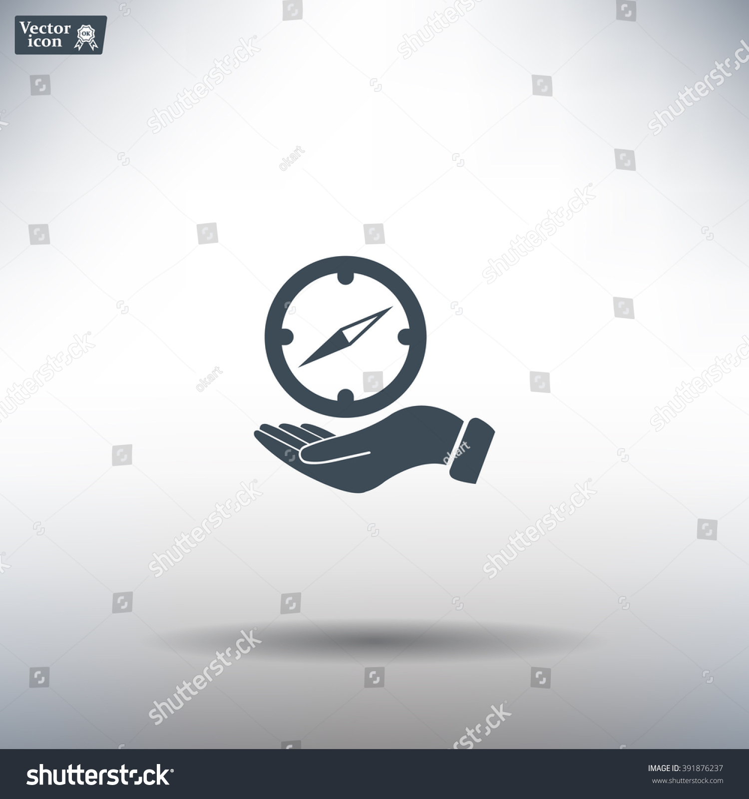 Compass on hand flat icon Vector illustration EPS