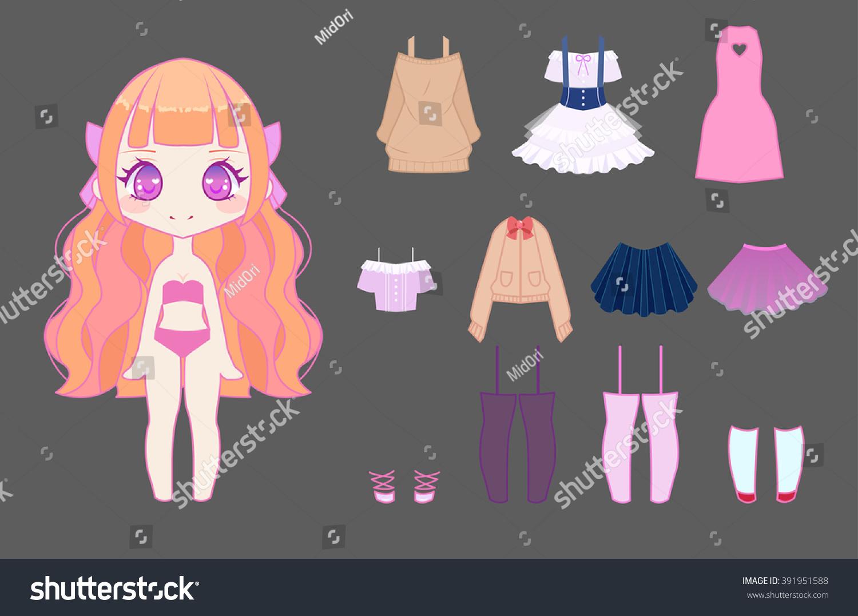 Cute anime chibi girl dress up set