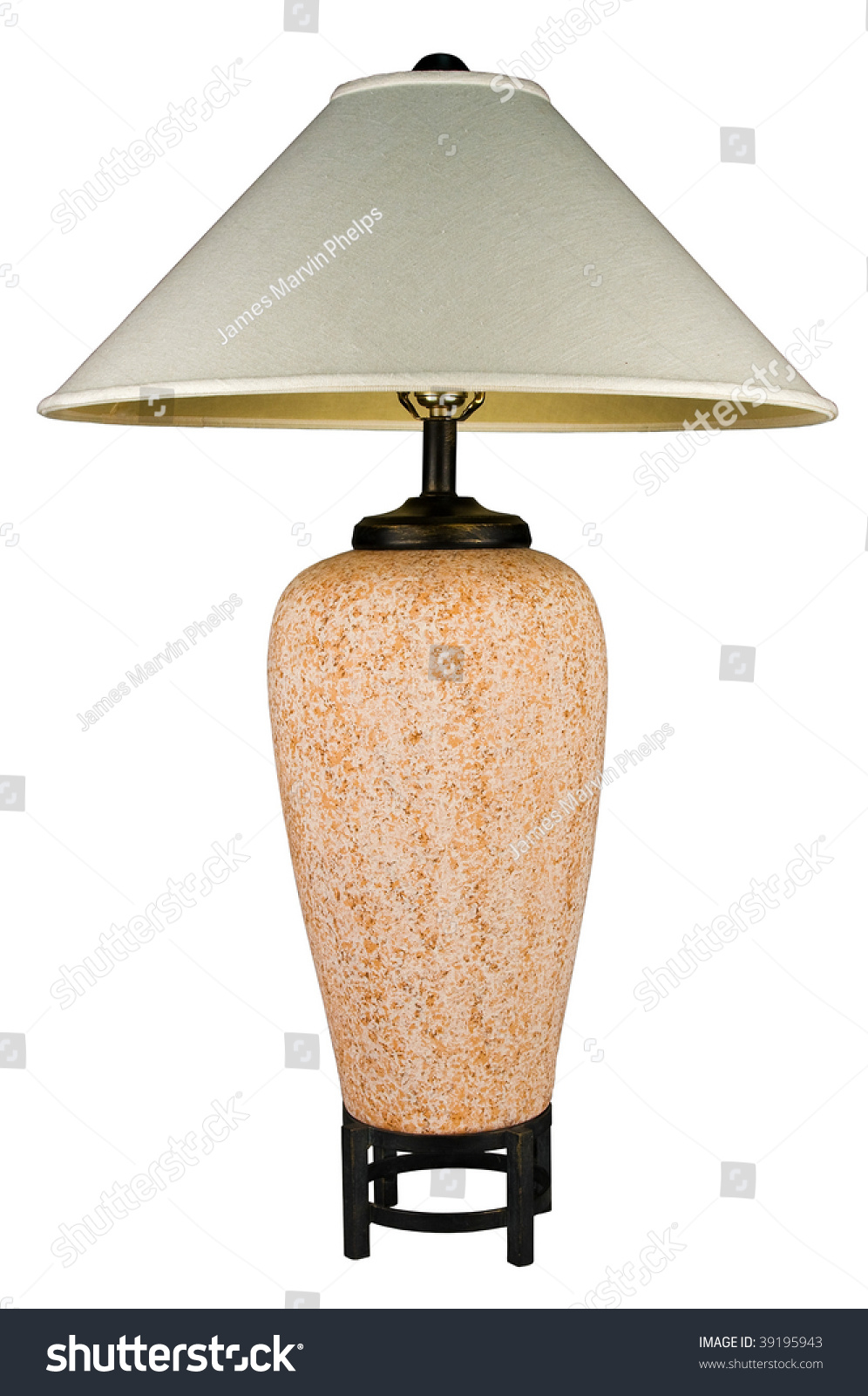 Contemporary Ceramic Rust Colored Table Lamp And Shade