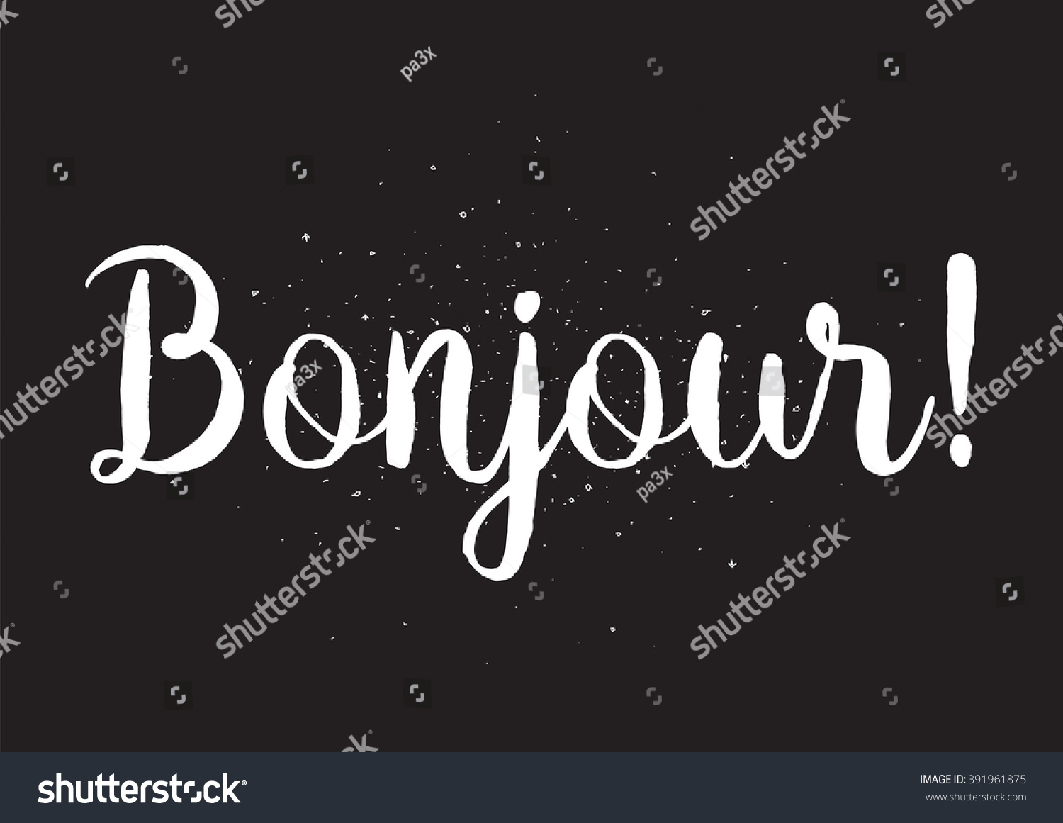 Bonjour inscription greeting card calligraphy hand stock vector