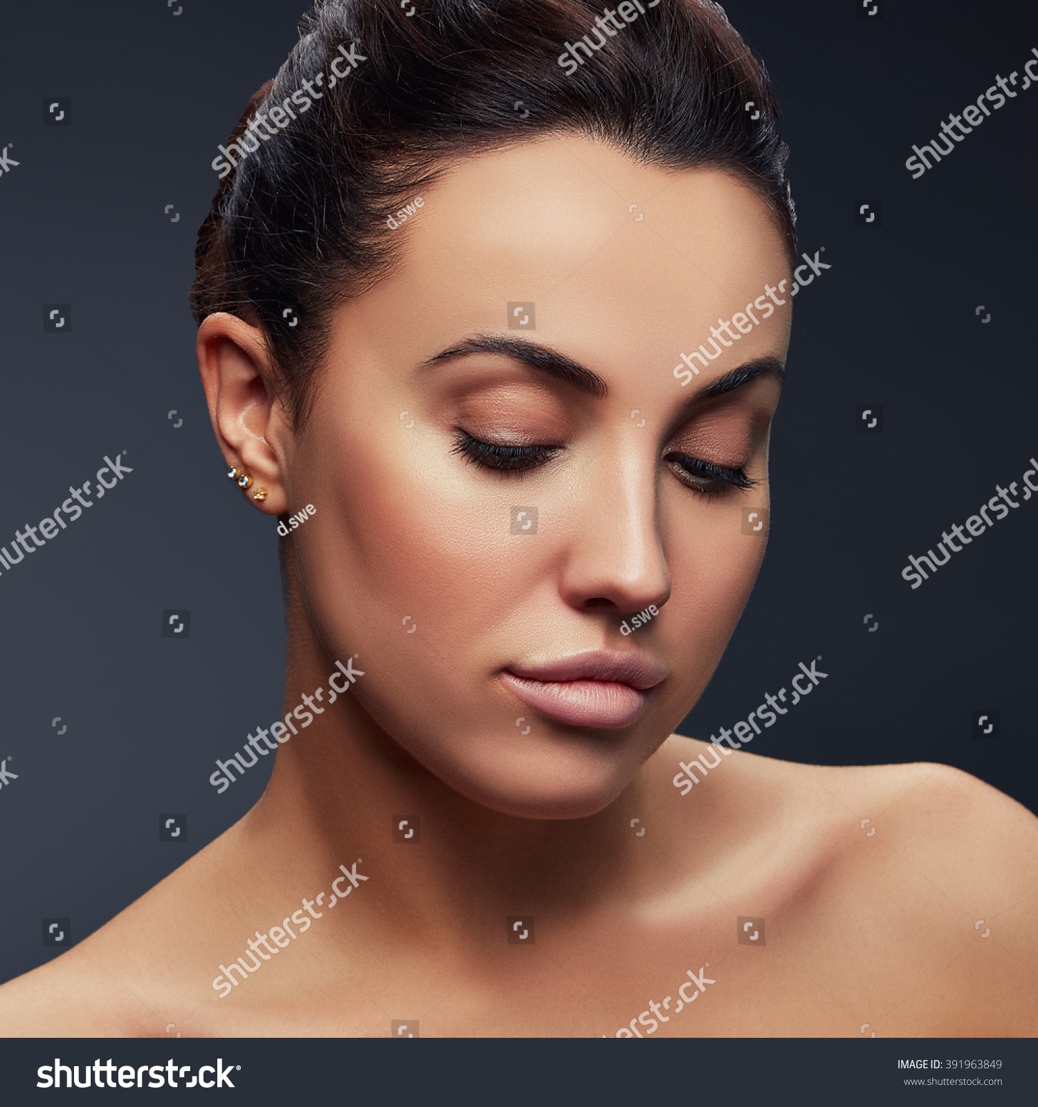 Beauty Fashion Portrait of Caucasian Young Girl with Natural Nude Make Up  with closed eyes and shoulders on purple gradient background. | EZ Canvas