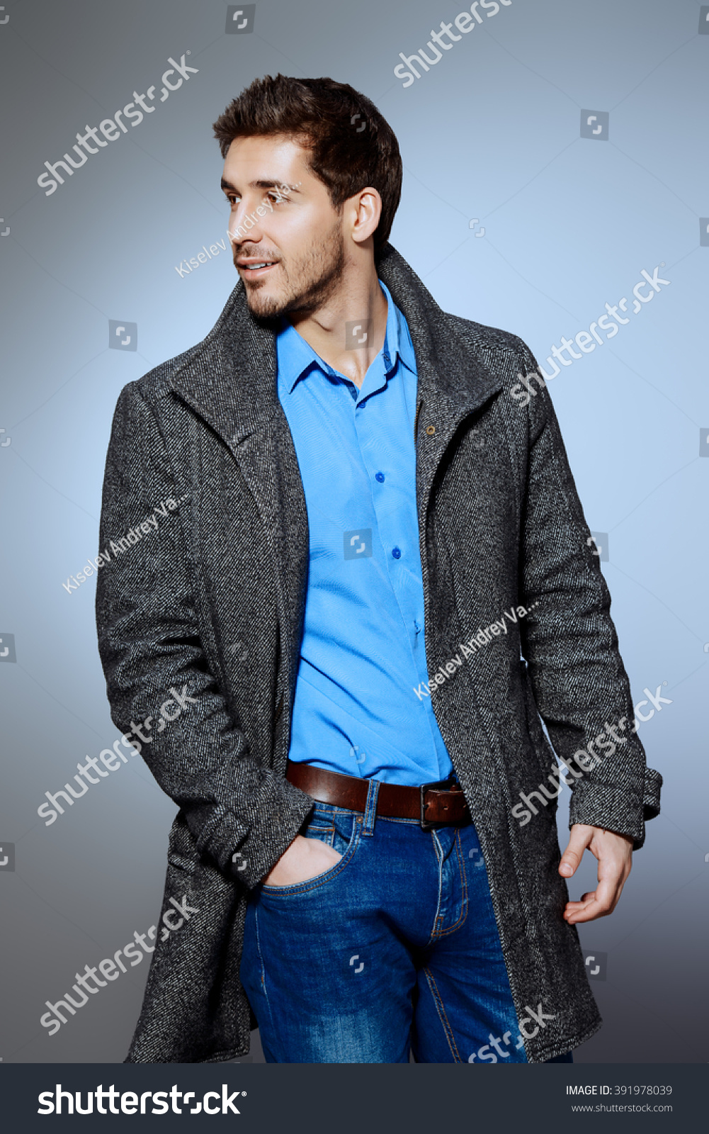 Handsome Man Wearing Jeans Clothes Coat Stock Photo 391978039 - Shutterstock