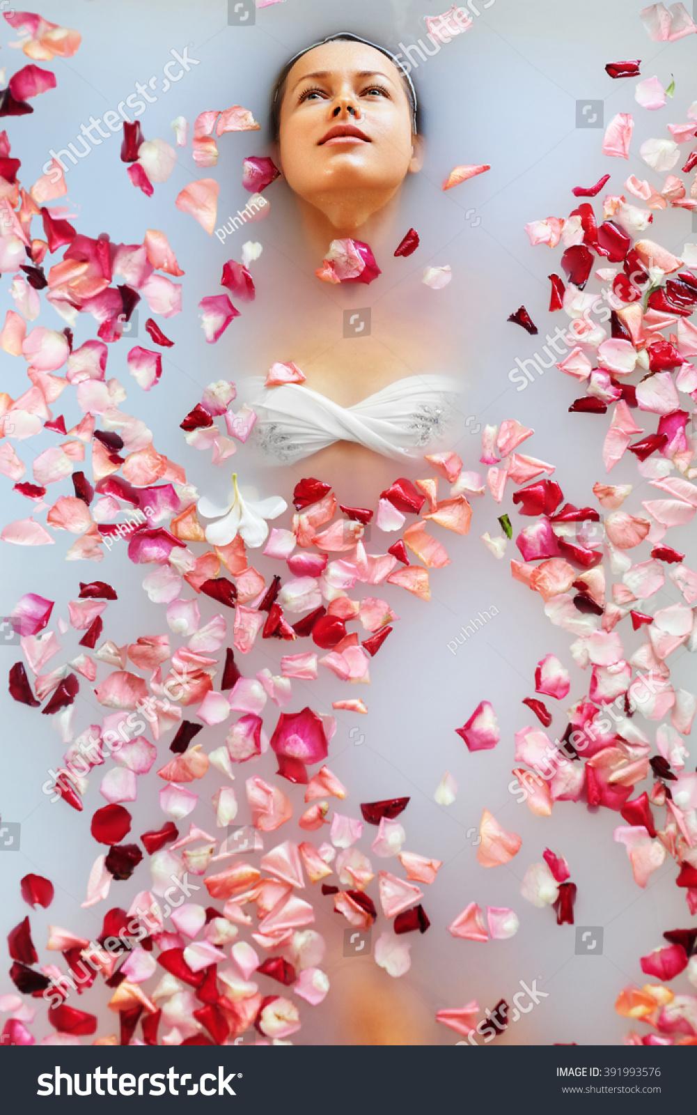 Royalty-free Spa Relax In Flower Bath. Woman Health… #391993576 ...