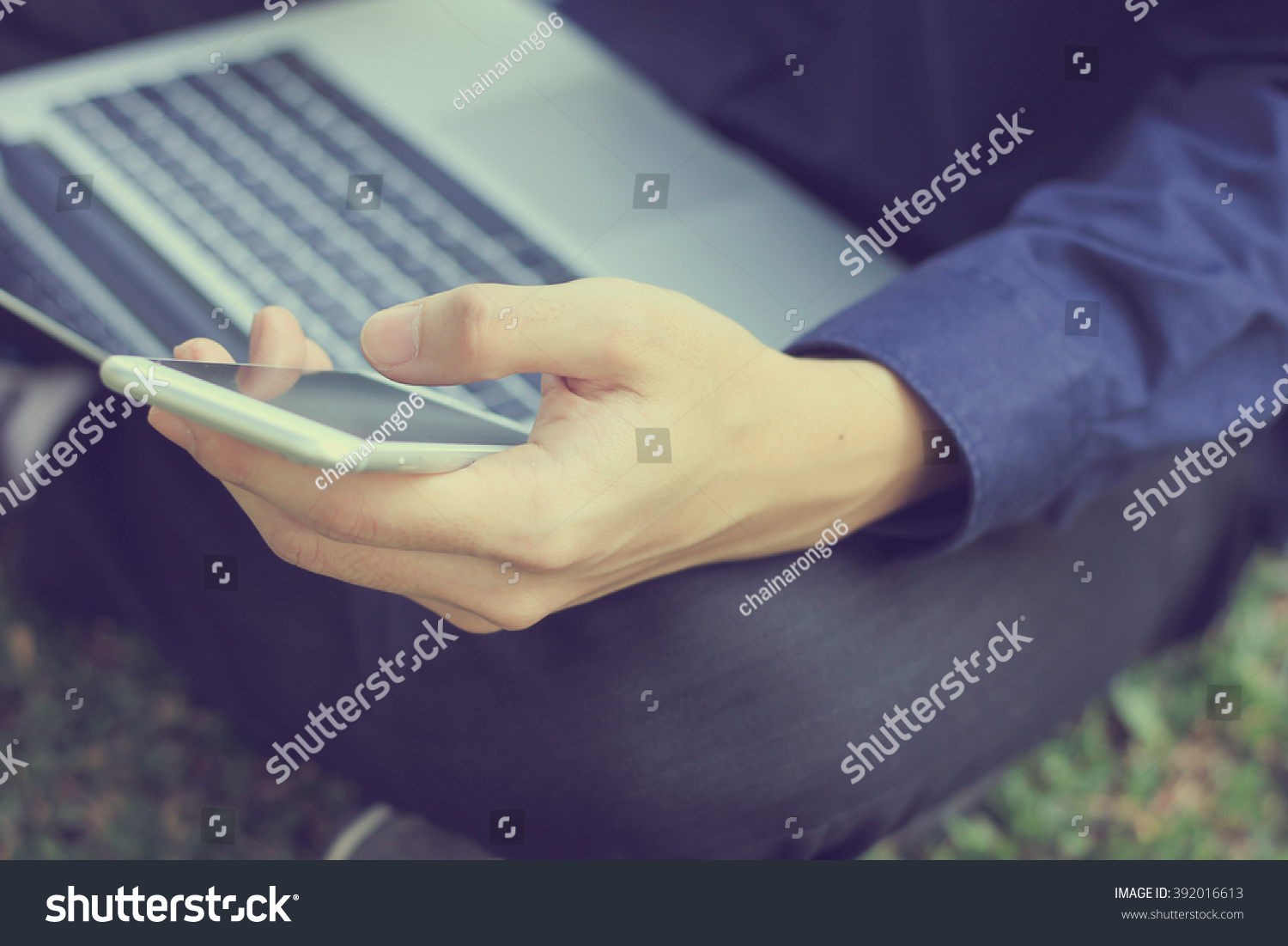 User Businessman Hold Smart Phone Texting Stock Photo 392016613 ...