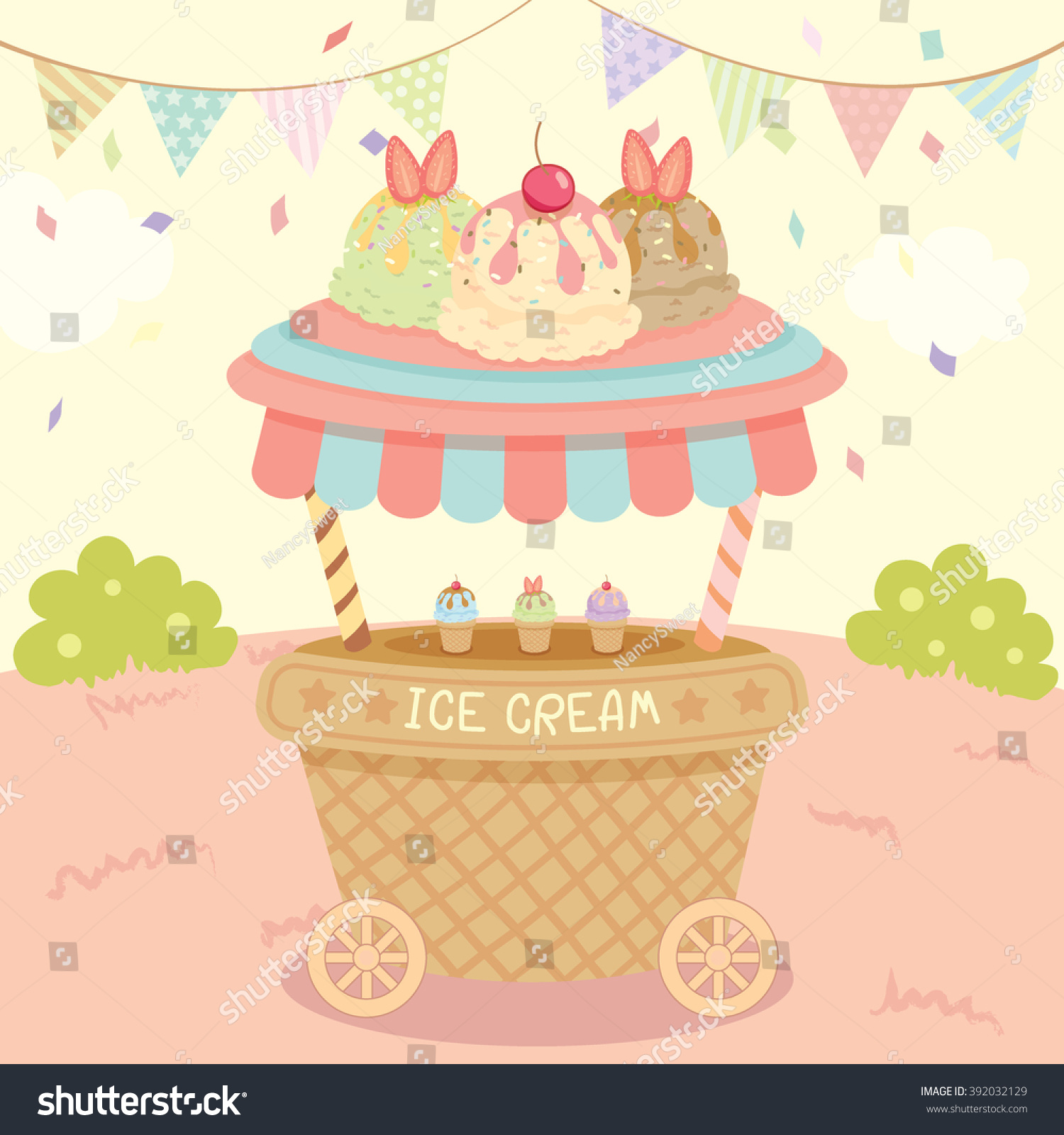 Background Of Cute Ice Cream With Phrase Vector: Vector Ice Cream Push Cart On Stock Vector 392032129