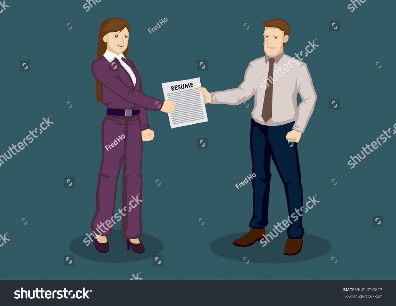 Cartoon Businessman Handing Over Resume Business Stock Vector ...