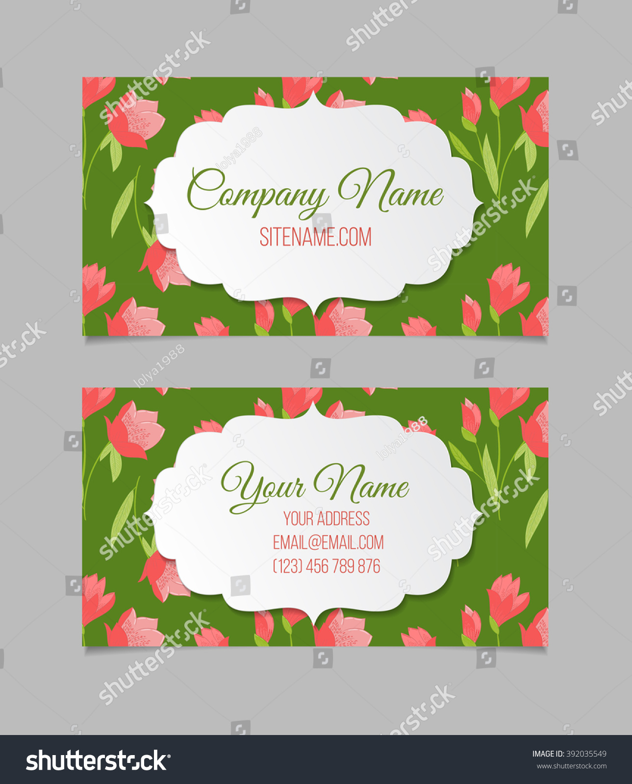 Floral Vector Visiting Business Card Template Stock Vector 392035549 ...