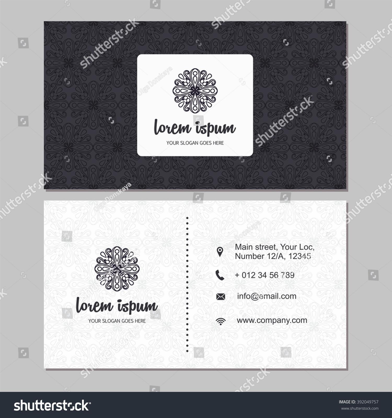 Visiting Card Business Card Set Mandala Stock Vector (2018 ...