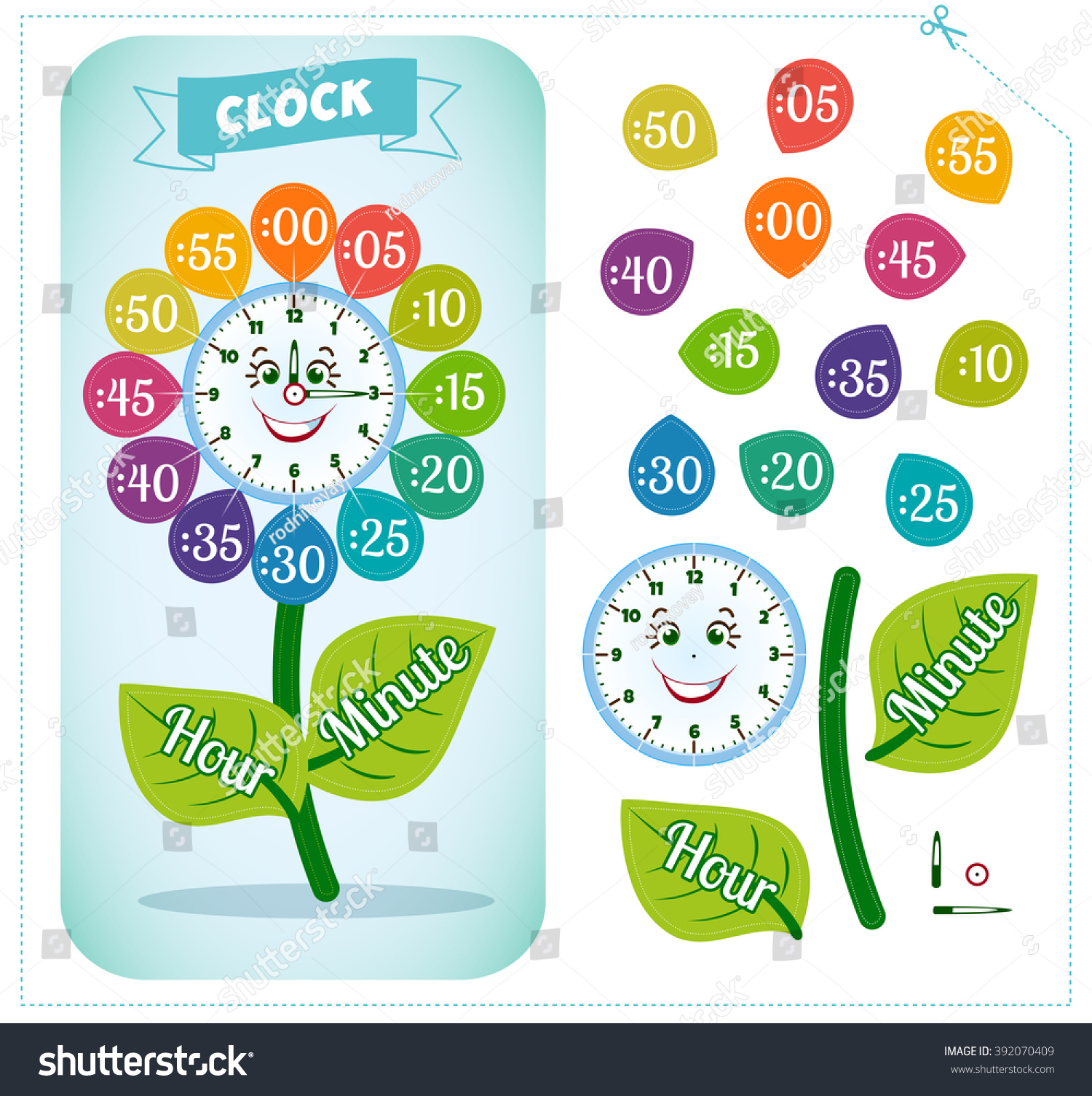 Stock Vector Telling Time Worksheet For School Kids To Identify The Time Clock Sticker Game For Children on Teaching Subtraction