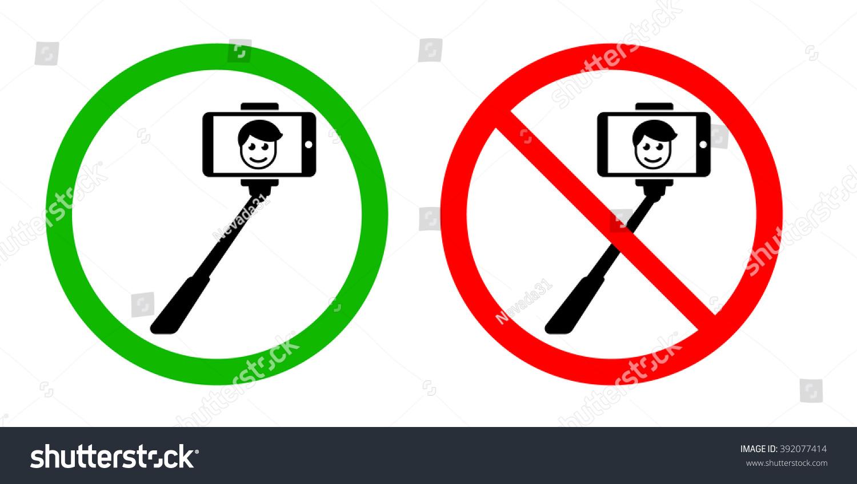 selfie stick allowed forbidden signs stock vector 392077414 shutterstock. Black Bedroom Furniture Sets. Home Design Ideas
