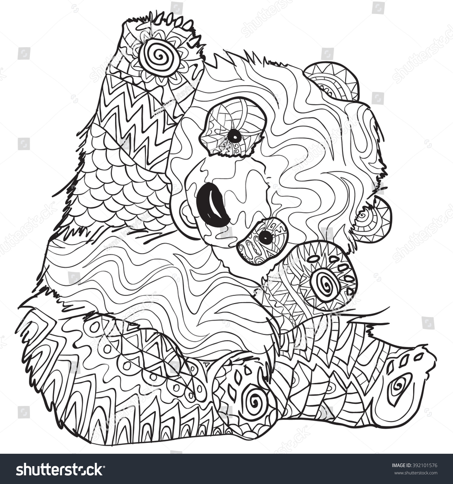 Hand Drawn Coloring Pages With Panda Illustration For Adult Anti Stress Books High
