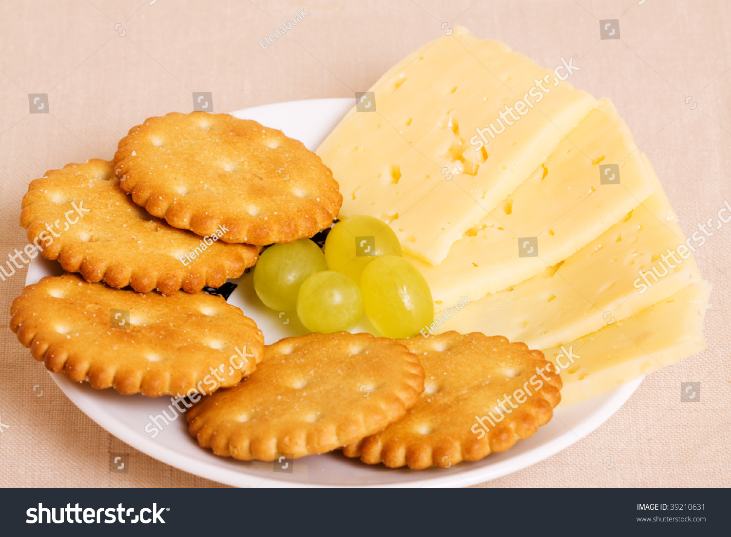 Cheese And Crackers On A Plate Stock Photo 39210631