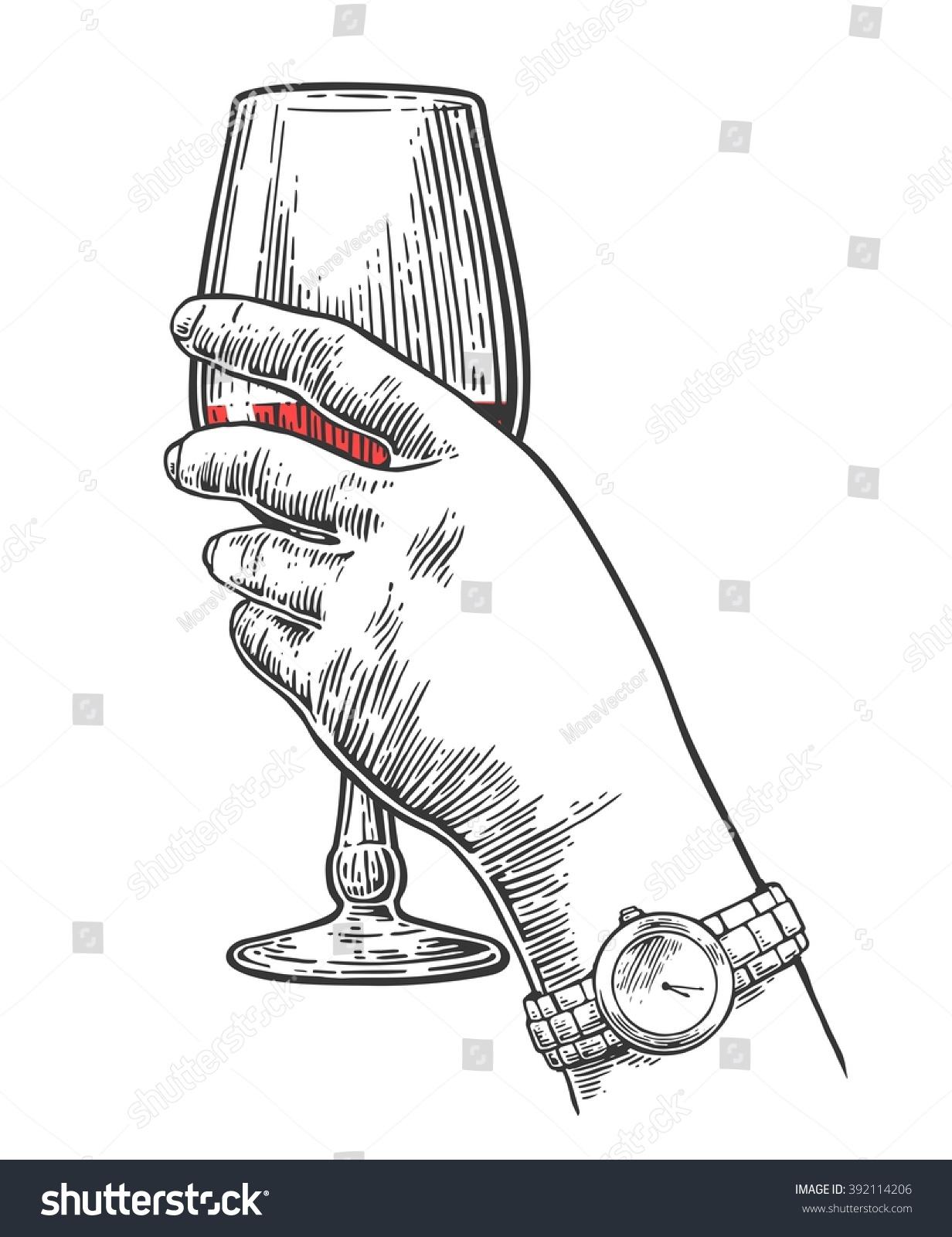 Female Hand Holding Wine Glass Vintage Stock Vector ...