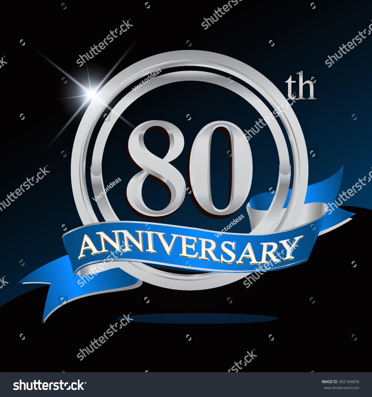 80th anniversary logo blue ribbon silver stock vector