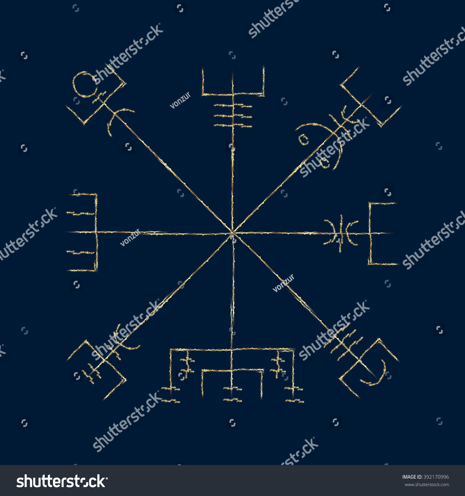 Galdrastafir magic gold runic symbol that stock vector 392170996 magic gold runic symbol that appeared in the early middle ages in iceland buycottarizona Choice Image