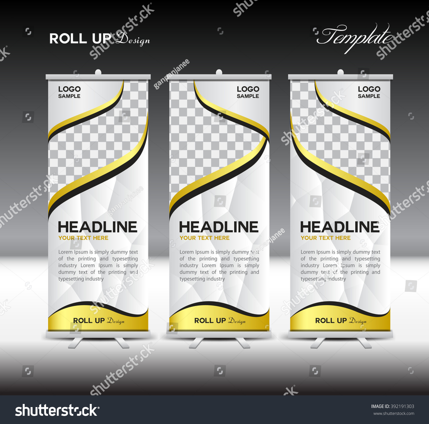 White Gold Roll Banner Template Vector Stock Vector 392191303 ...