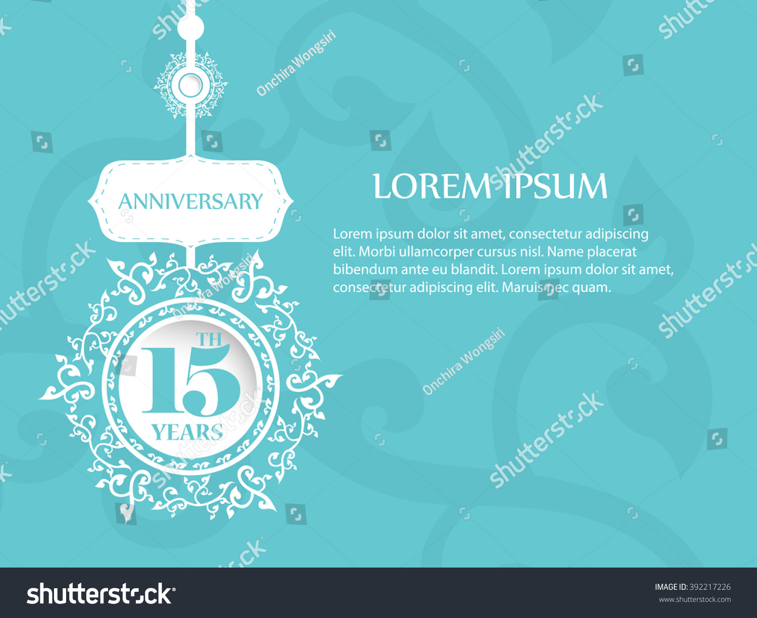 15th Years Anniversary Symbol Background Free Stock Vector 392217226